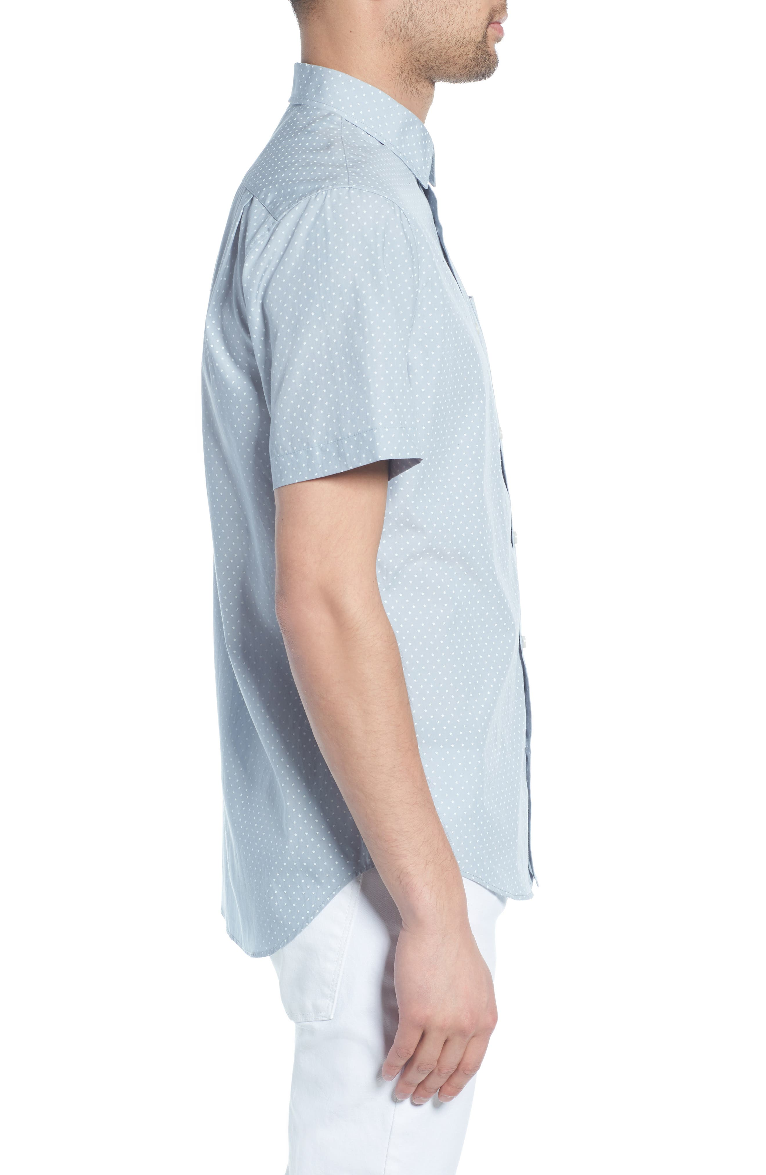 Classic Fit Micro Star Short Sleeve Sport Shirt,                             Alternate thumbnail 3, color,                             ARCTIC