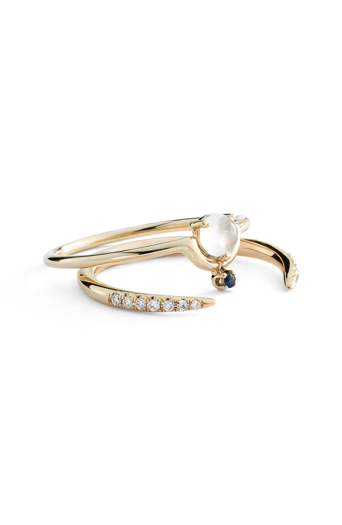 Nestled Moonstone & Sapphire Ring,                             Alternate thumbnail 4, color,                             YELLOW GOLD
