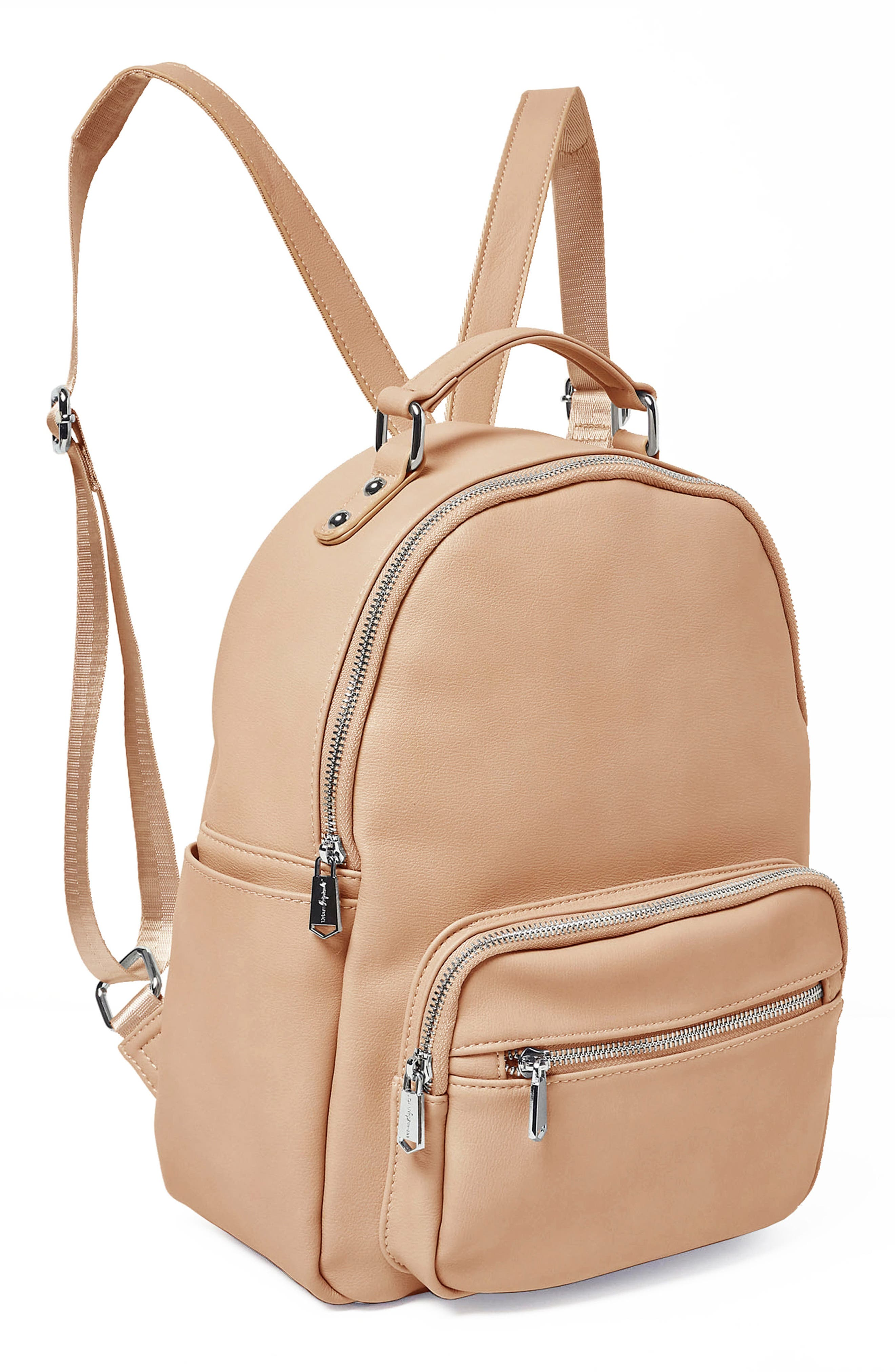 On My Own Vegan Leather Backpack,                             Alternate thumbnail 4, color,                             NUDE