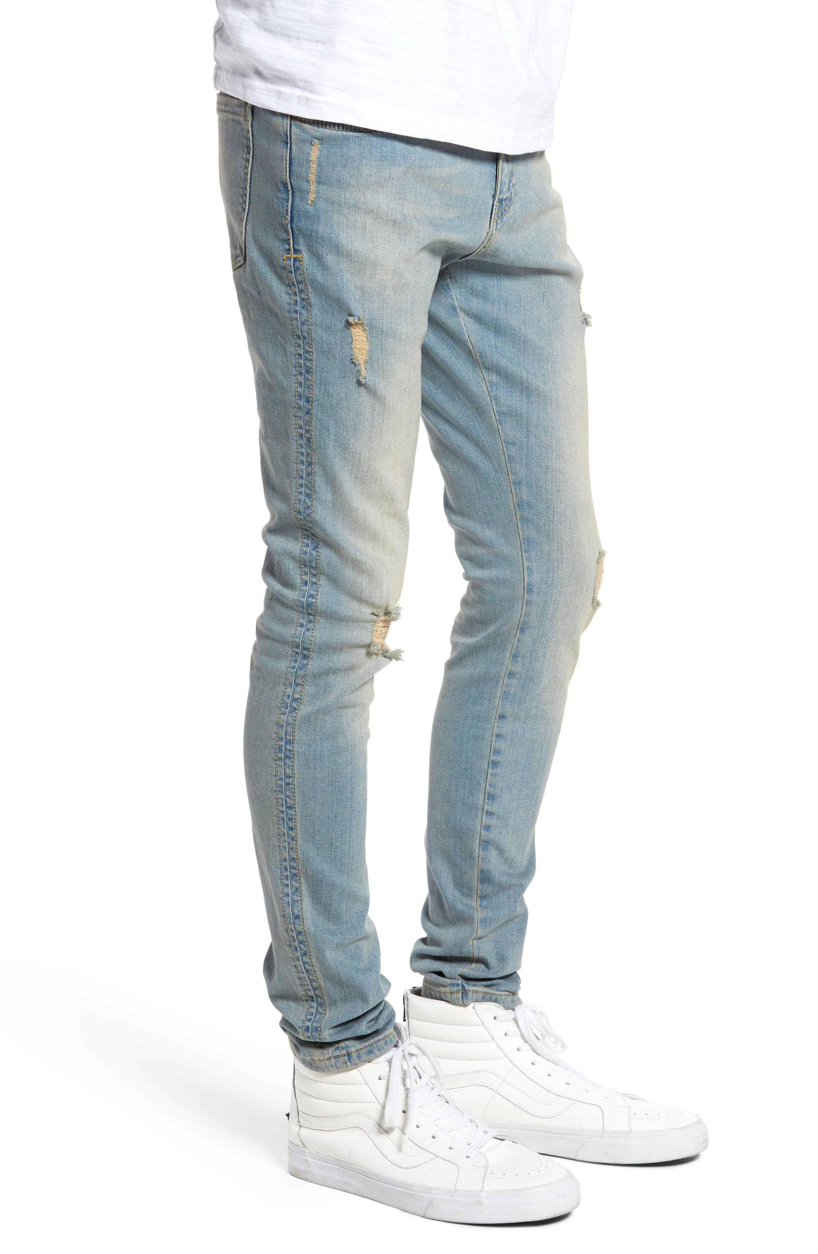 Slim Fit Distressed Jeans,                             Alternate thumbnail 6, color,