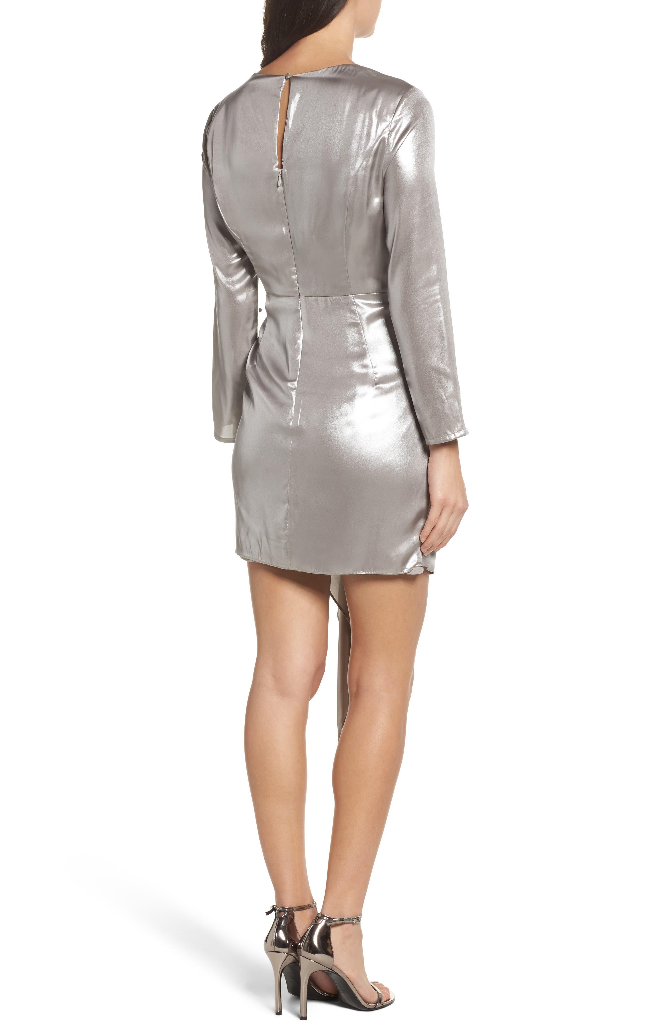 Shimmer Drape Front Dress,                             Alternate thumbnail 2, color,