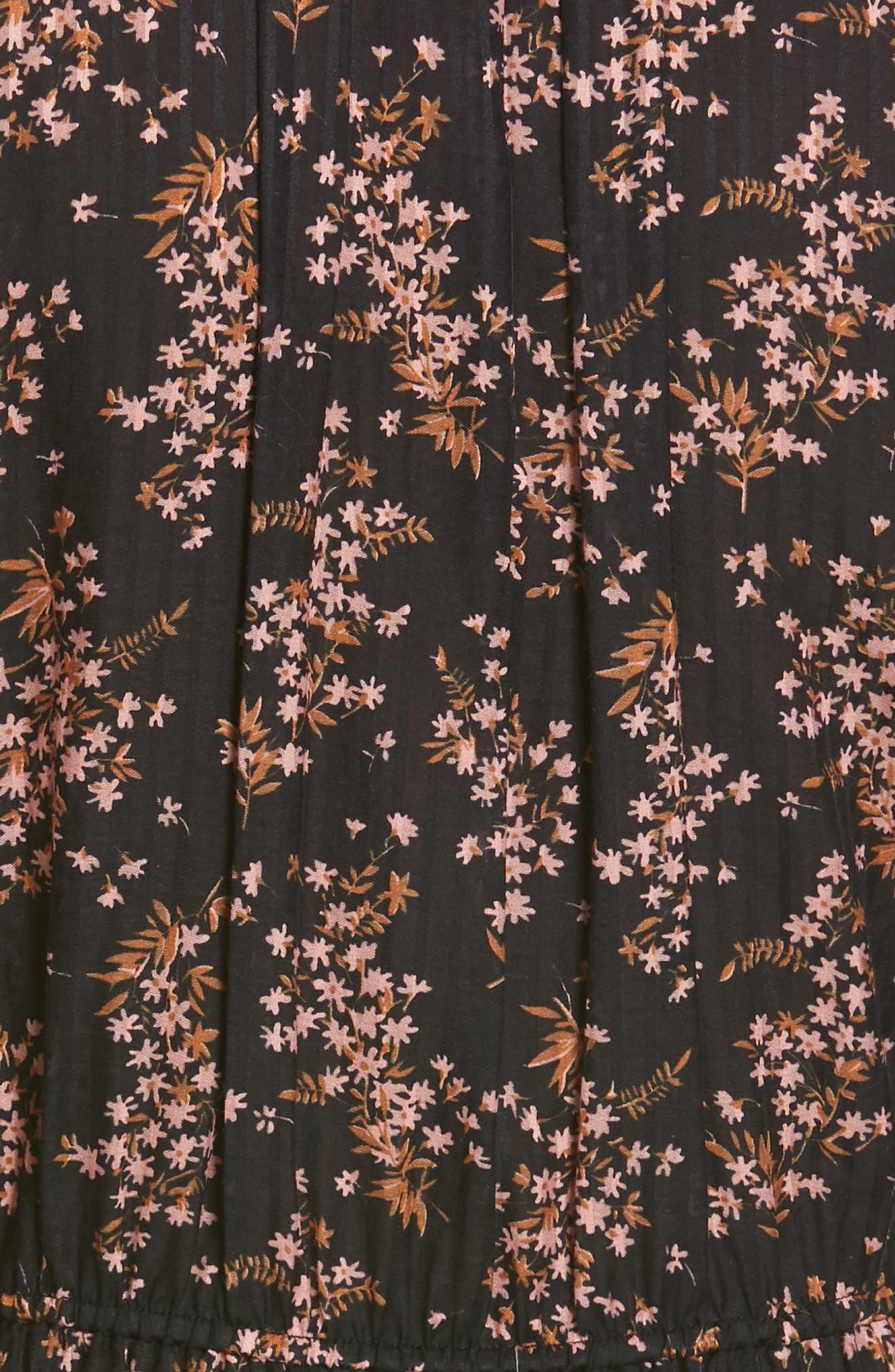ULLA JOHNSON,                             Brienne Floral Print Cotton & Silk Minidress,                             Alternate thumbnail 6, color,                             JET