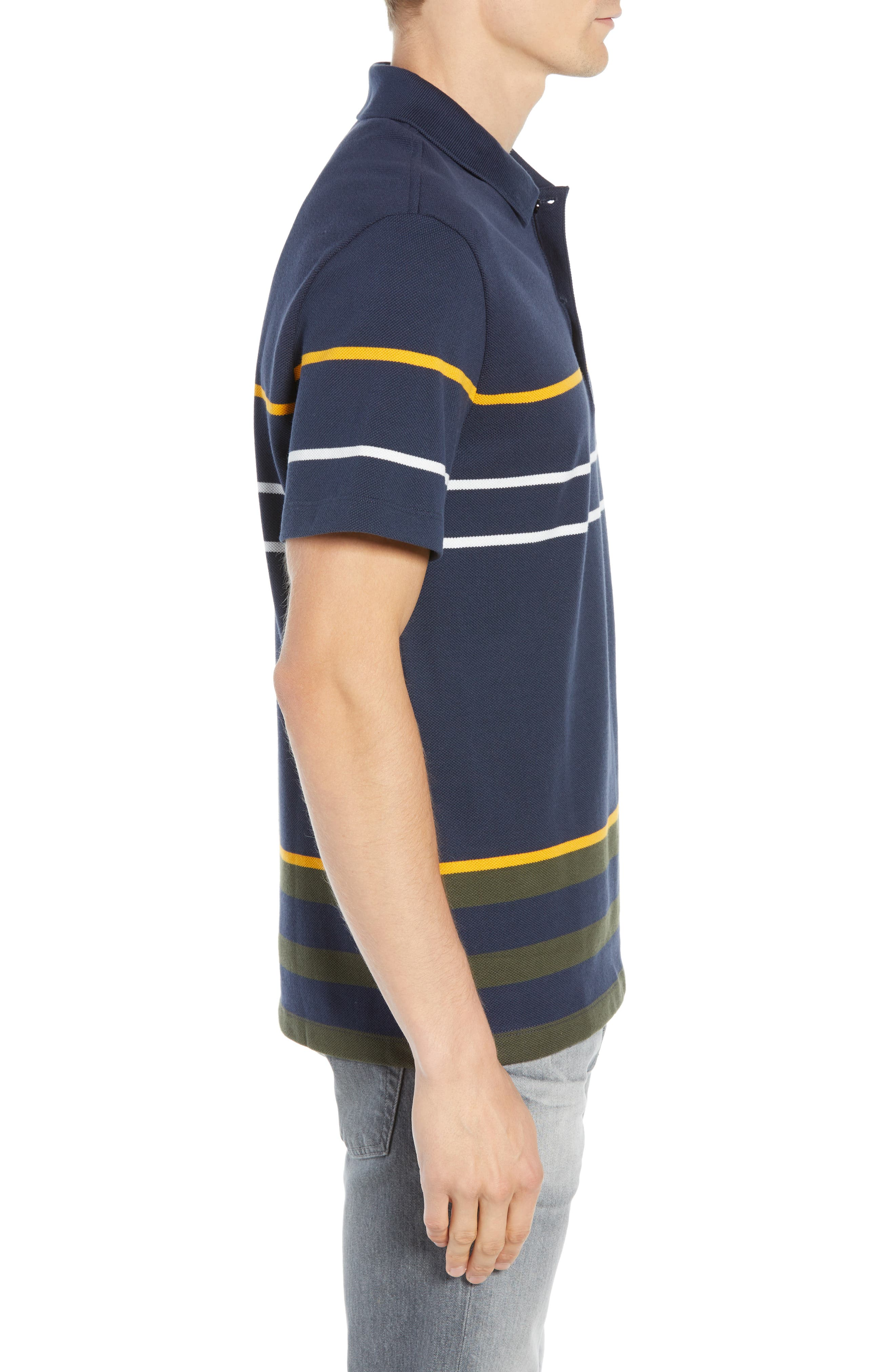 Regular Fit Stripe Cotton Polo,                             Alternate thumbnail 3, color,                             DS1 MERIDIAN BLUE/ BAOBAB-POME