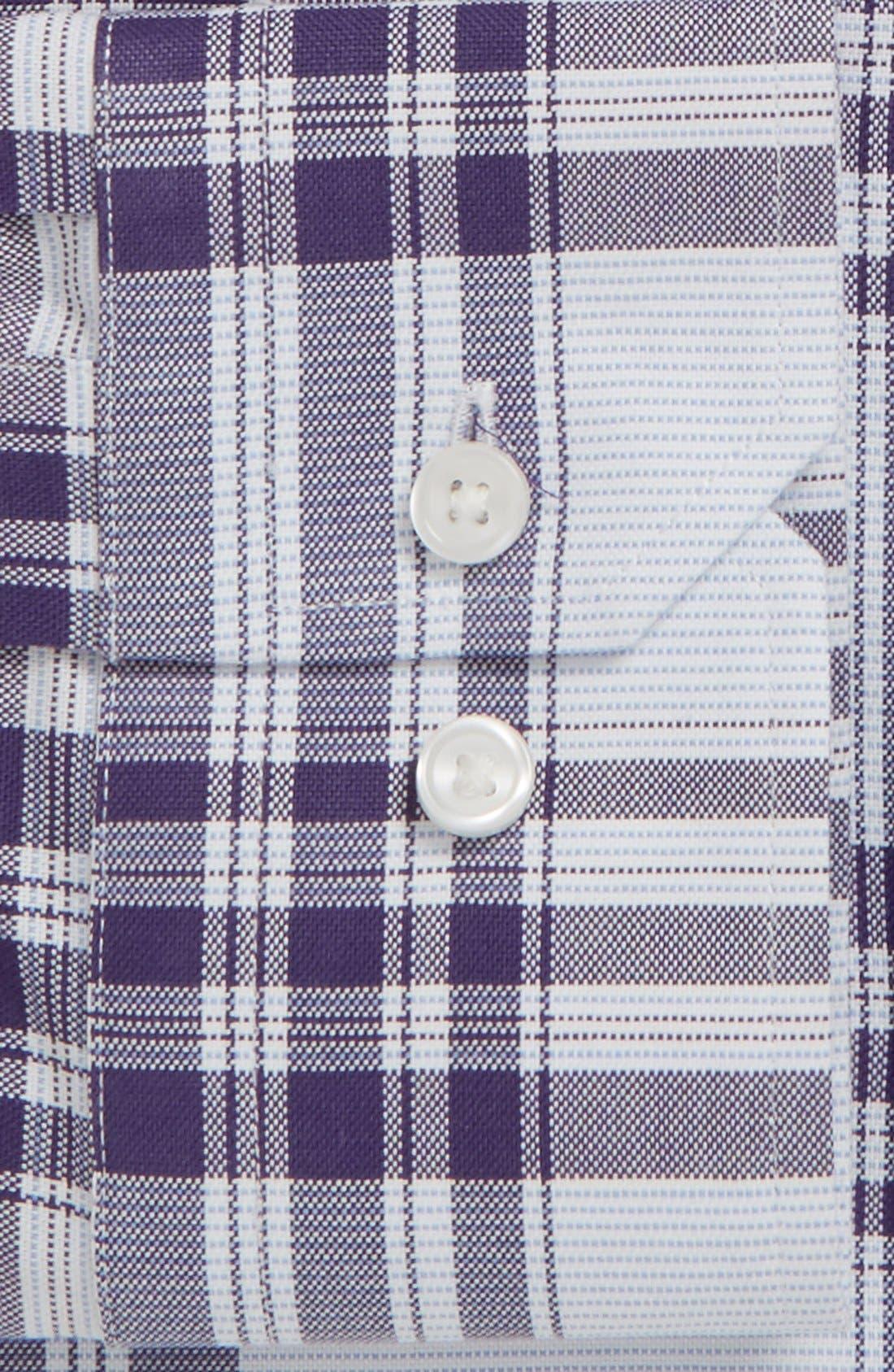 Trim Fit Plaid Non-Iron Stretch Dress Shirt,                             Alternate thumbnail 4, color,