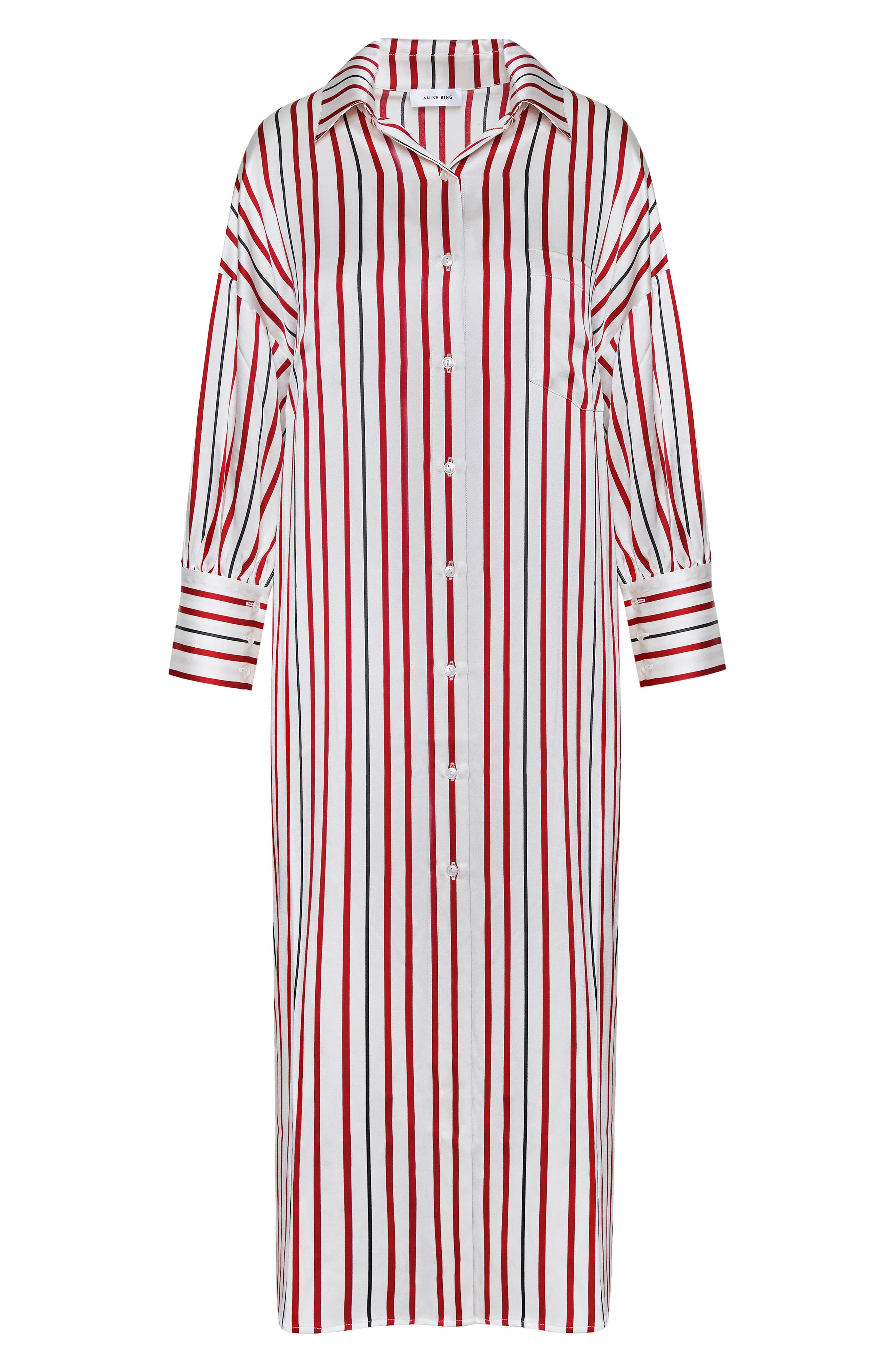 Milly Silk Shirtdress,                             Alternate thumbnail 3, color,                             MULTI