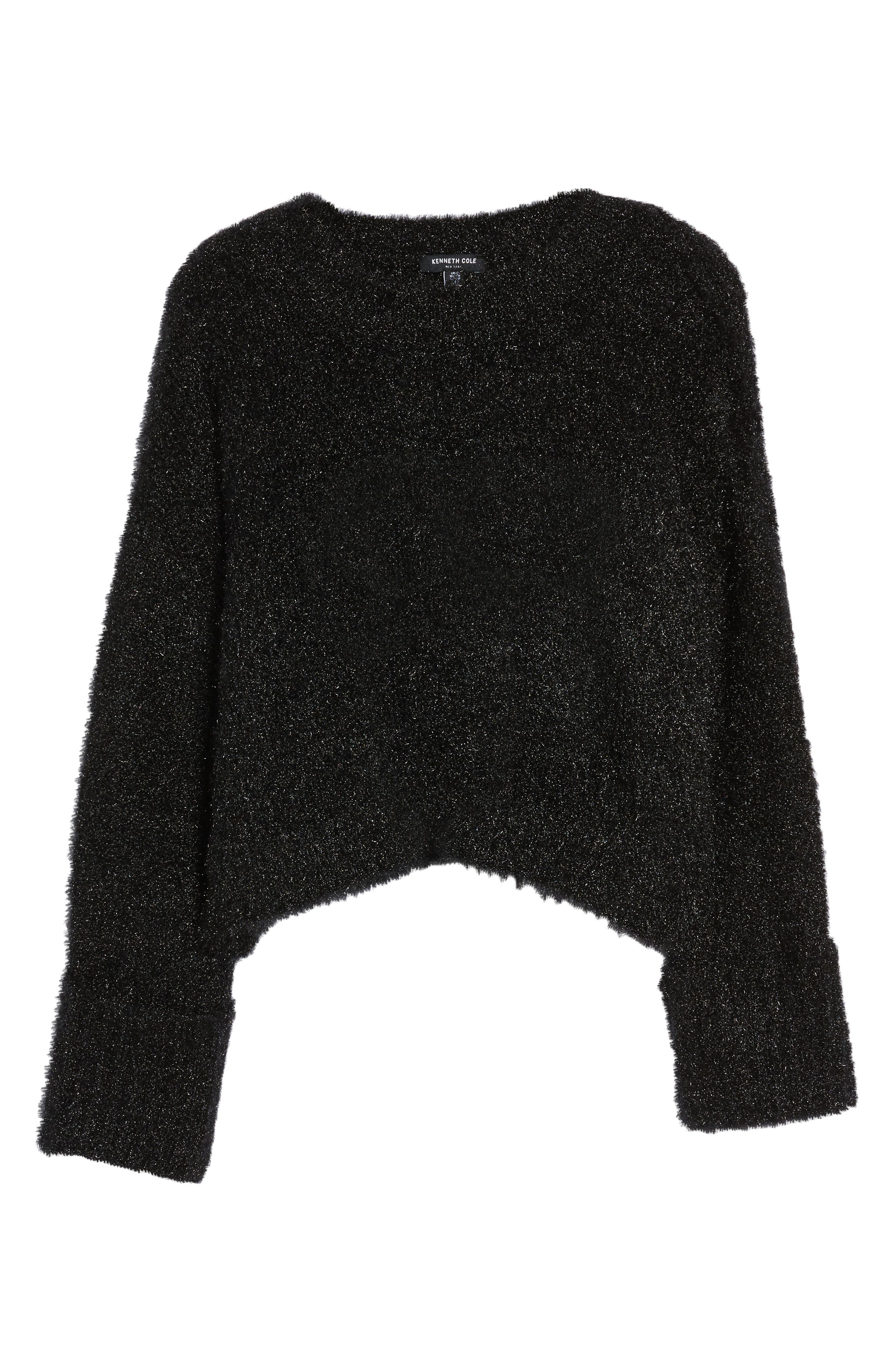 Large Cuff Crop Sweater,                             Alternate thumbnail 6, color,                             001
