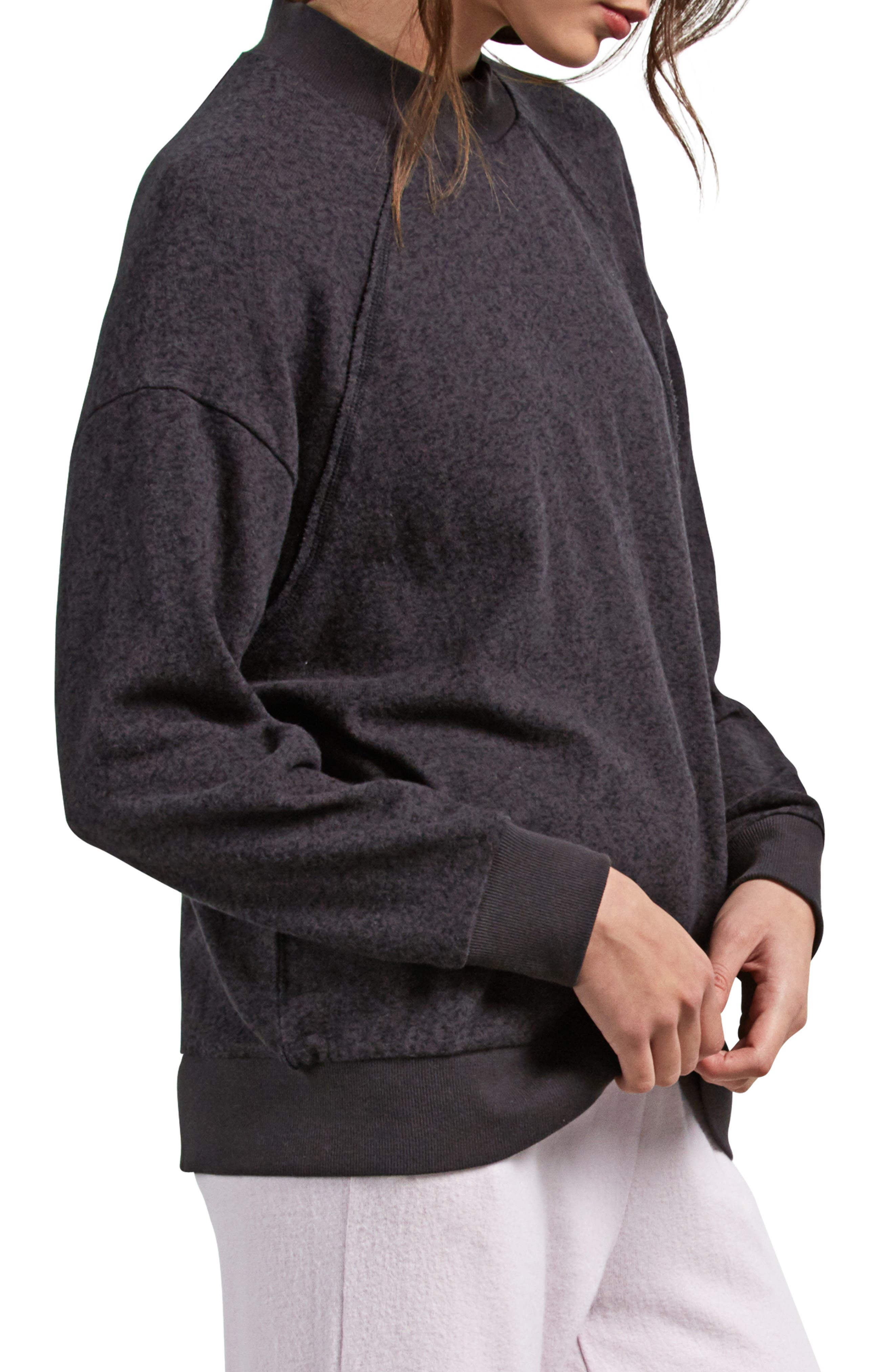 Lil Mock Neck Fleece Sweatshirt,                             Alternate thumbnail 3, color,                             VINTAGE BLACK