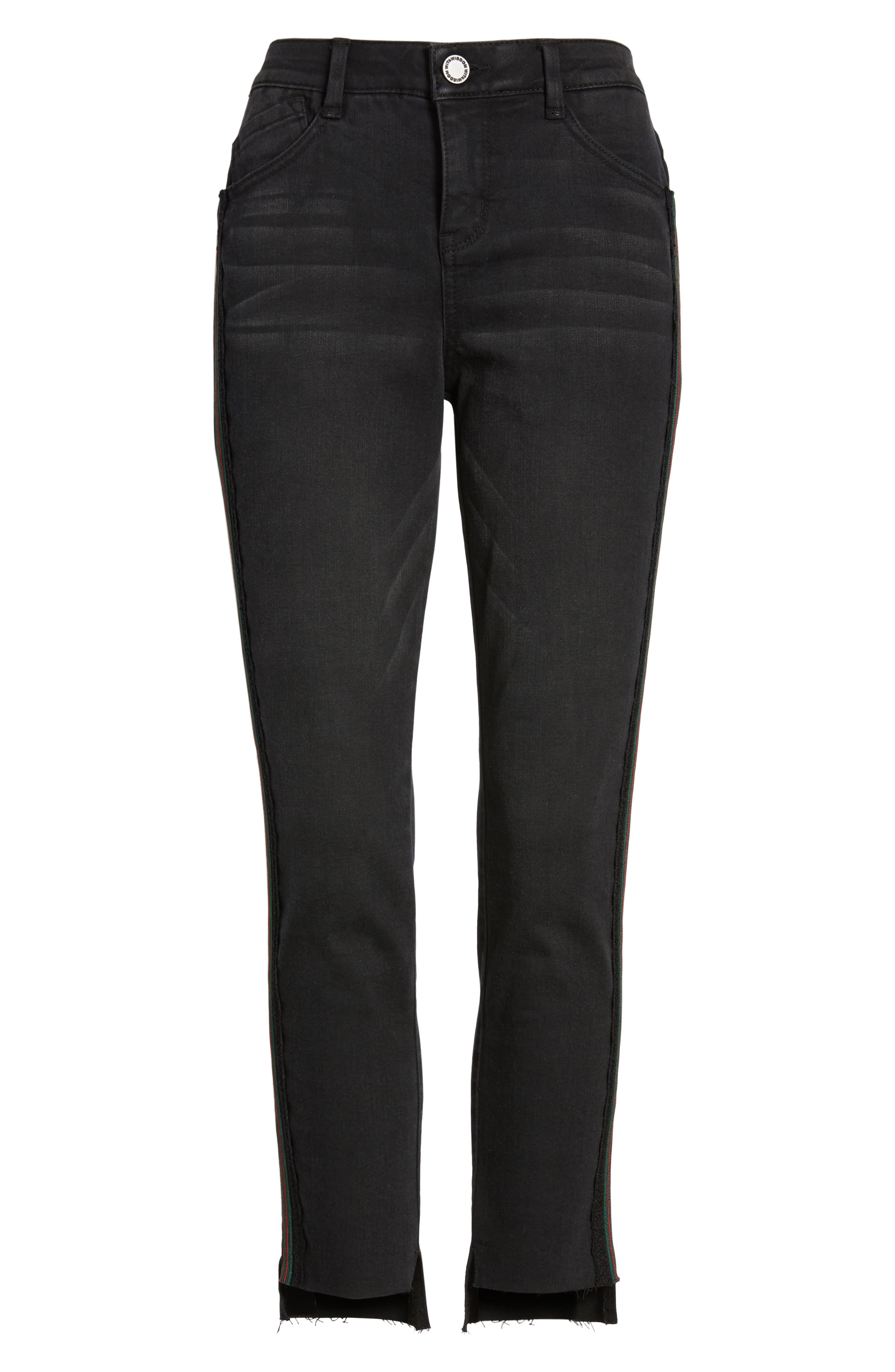 Ab-Solution Stripe High Waist Ankle Skinny Jeans,                             Alternate thumbnail 7, color,                             BLACK