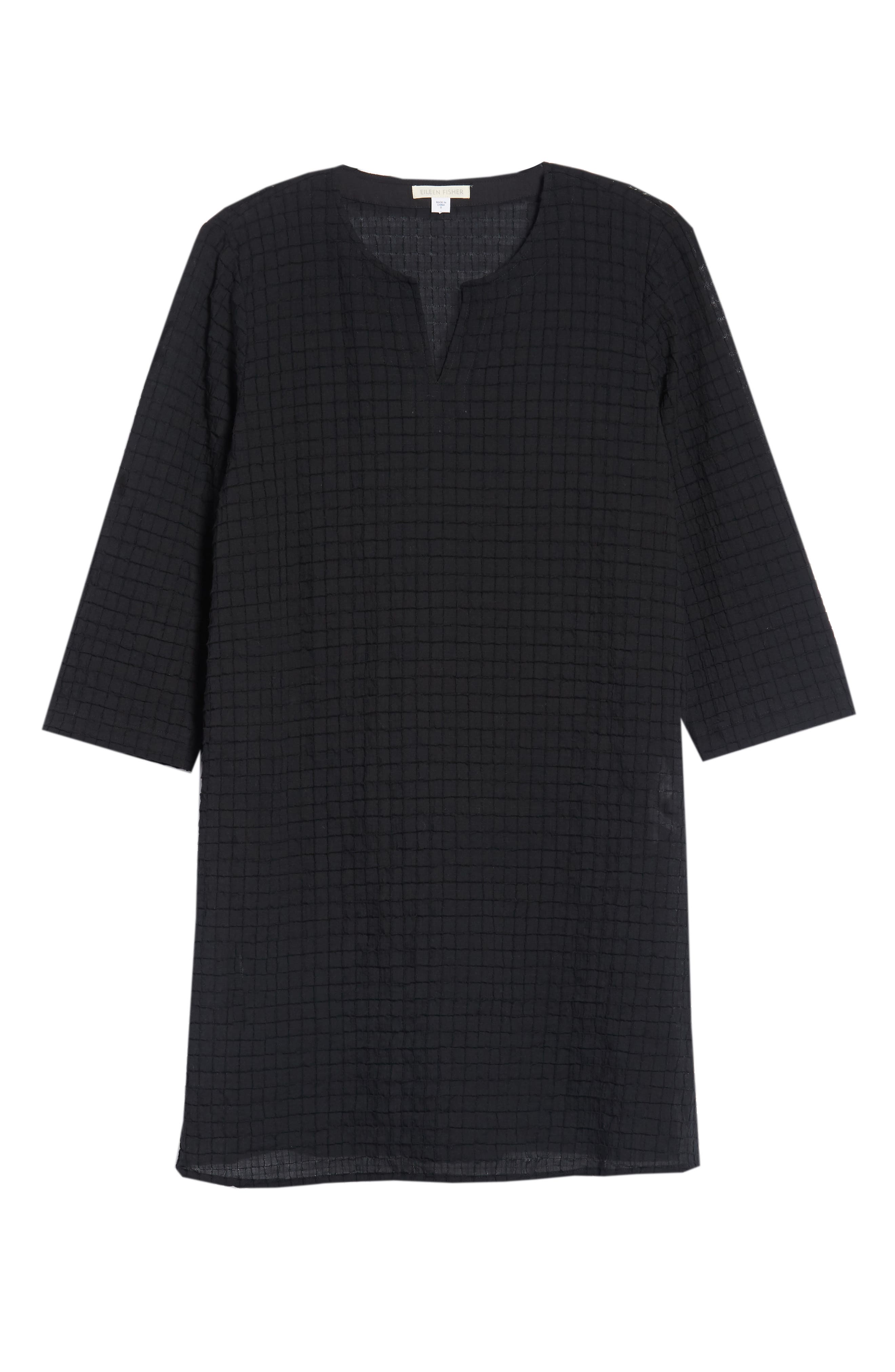 EILEEN FISHER,                             Stretch Organic Cotton Tunic,                             Alternate thumbnail 6, color,                             001