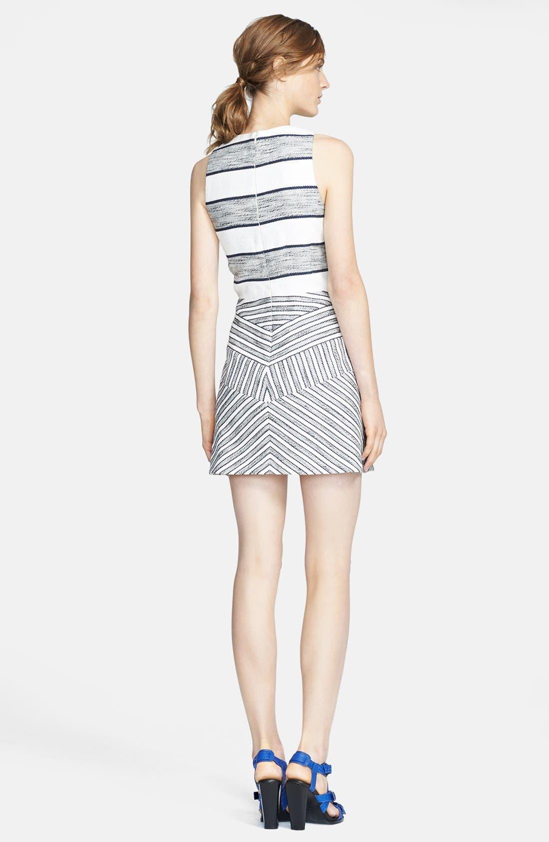 3.1 PHILLIP LIM,                             Chevron Detail Full Skirt Dress,                             Alternate thumbnail 3, color,                             111