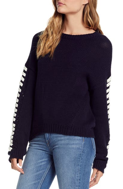 Michael Stars Sweaters LACE-UP SLEEVE SWEATER