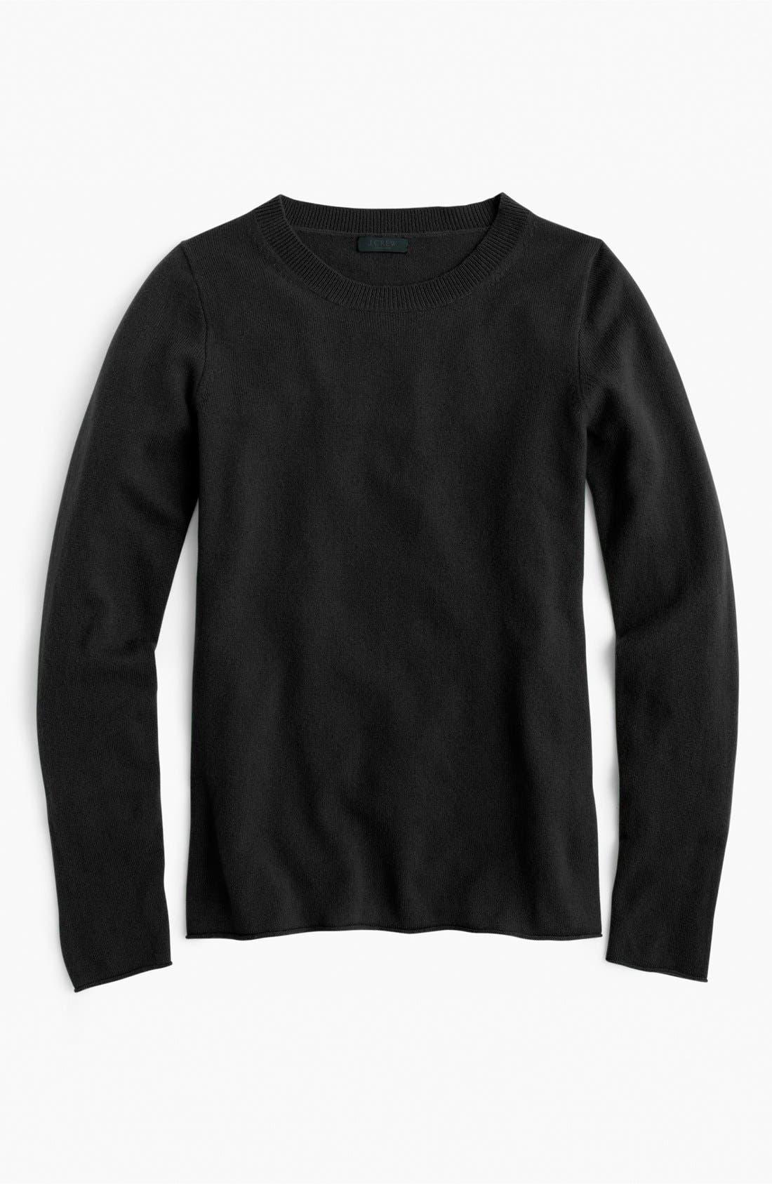 J.CREW,                             Long Sleeve Italian Cashmere Sweater,                             Main thumbnail 1, color,                             001
