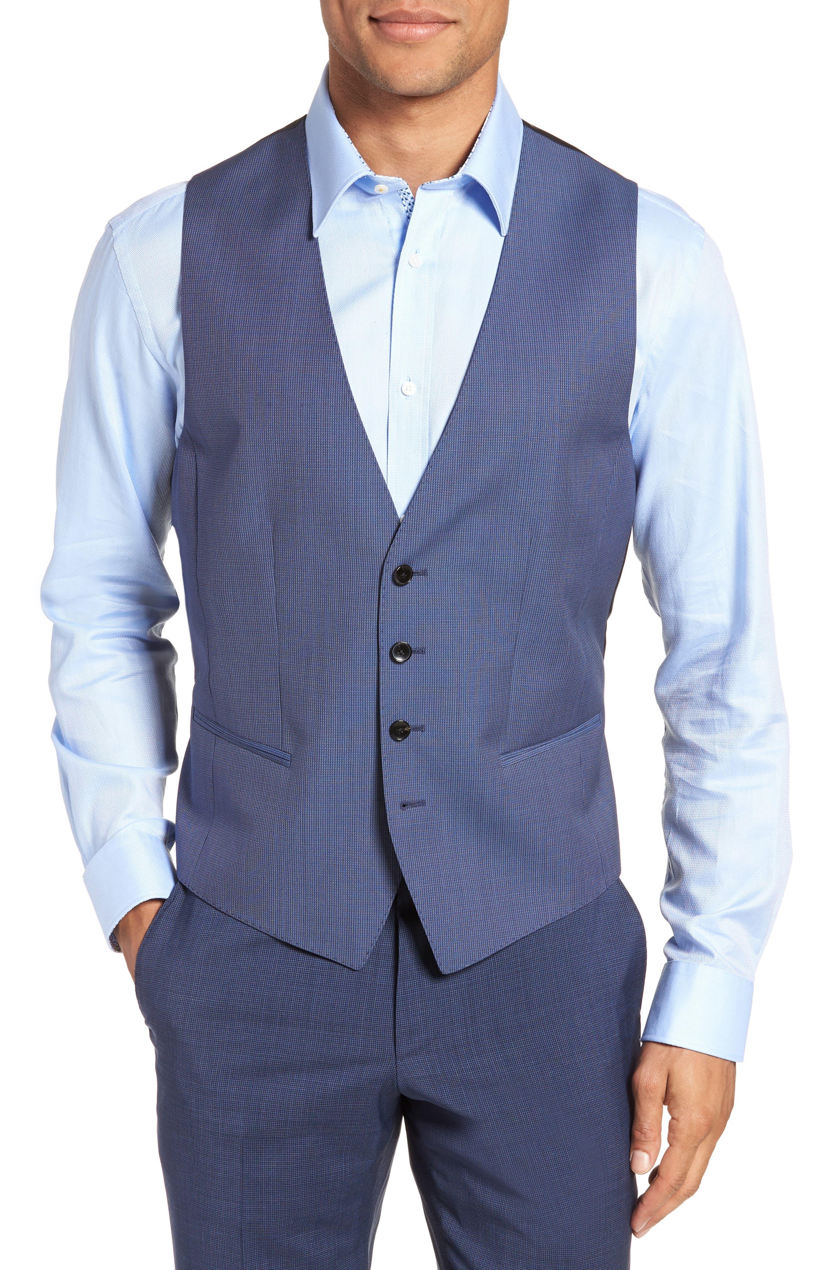 Huge/Genius Trim Fit Solid Three Piece Wool Suit,                             Alternate thumbnail 5, color,                             BLUE