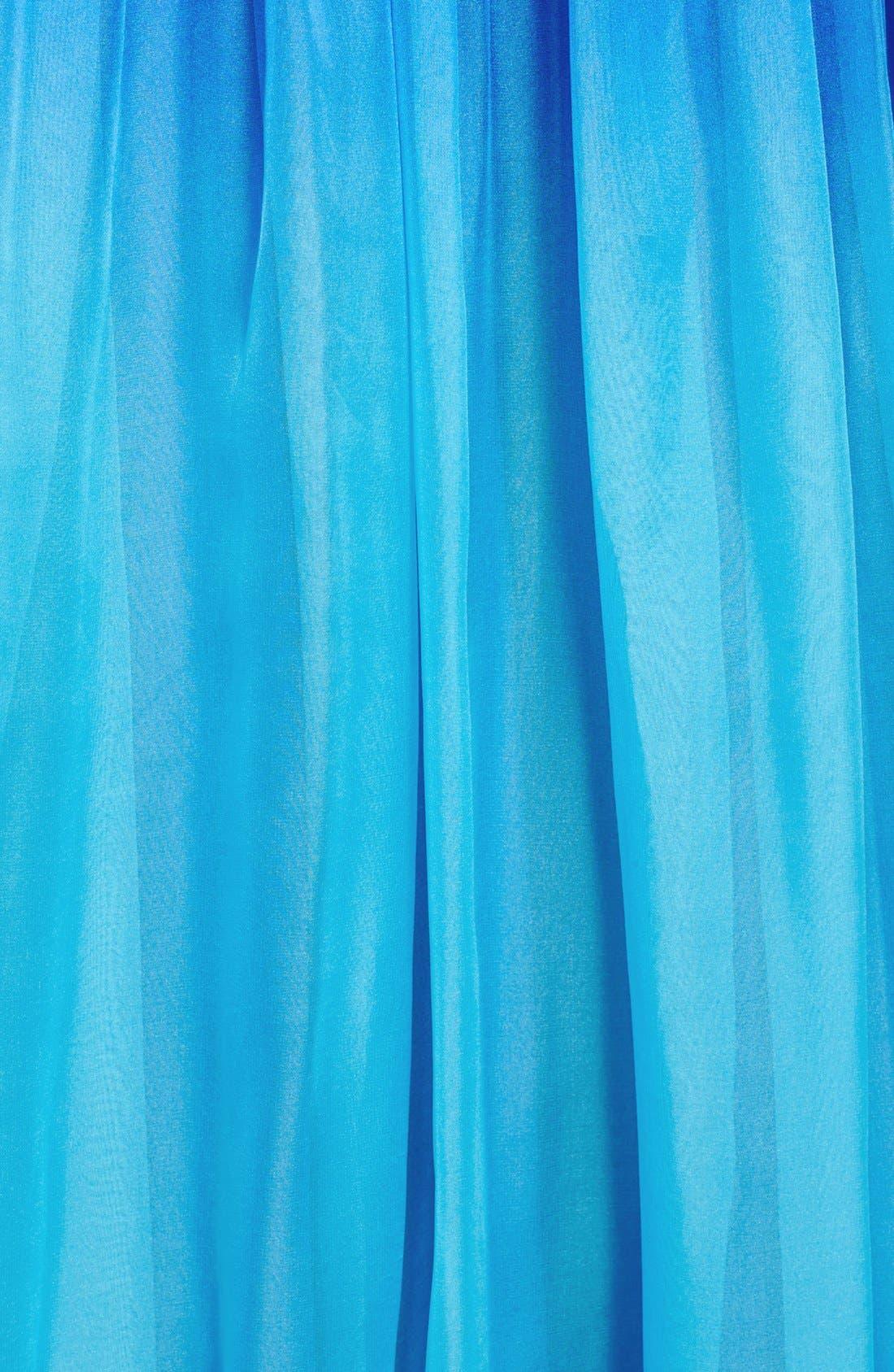 LA FEMME,                             Ruched Ombré Chiffon Strapless Gown,                             Alternate thumbnail 3, color,                             440