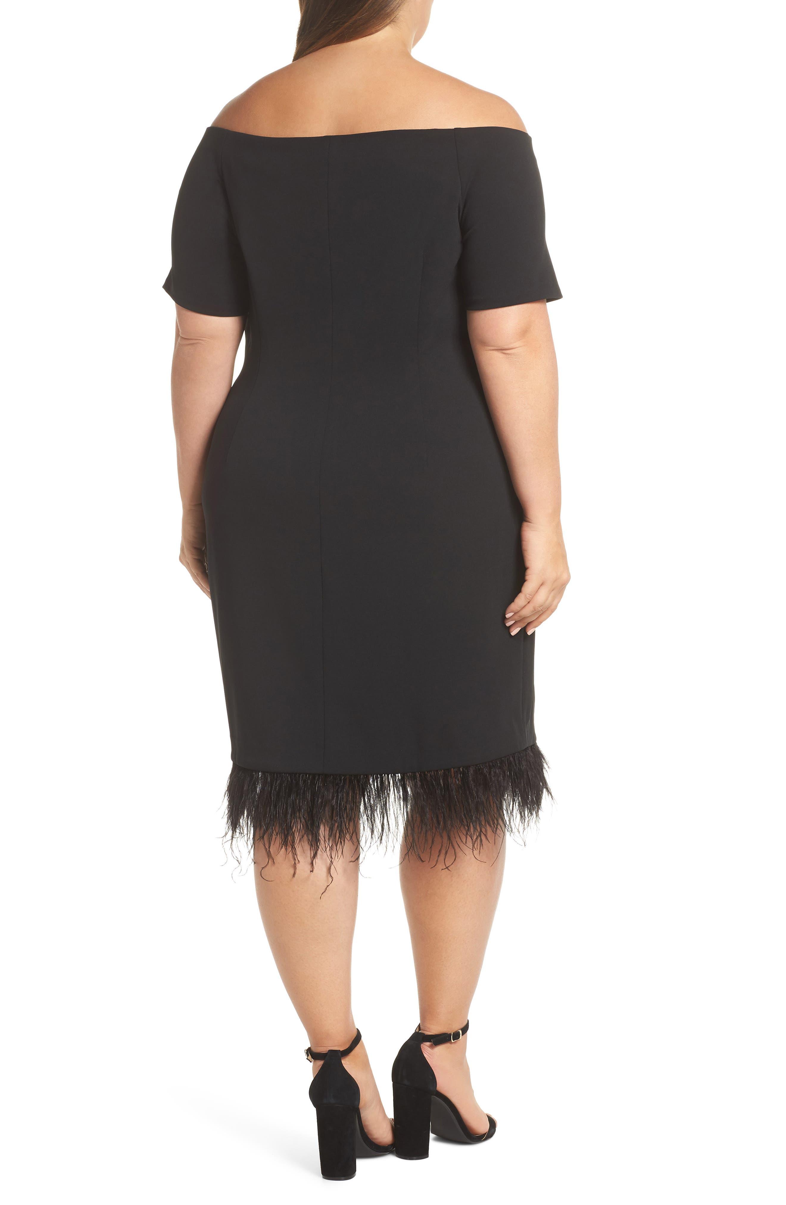 Feather Trim Sheath Dress,                             Alternate thumbnail 2, color,                             001
