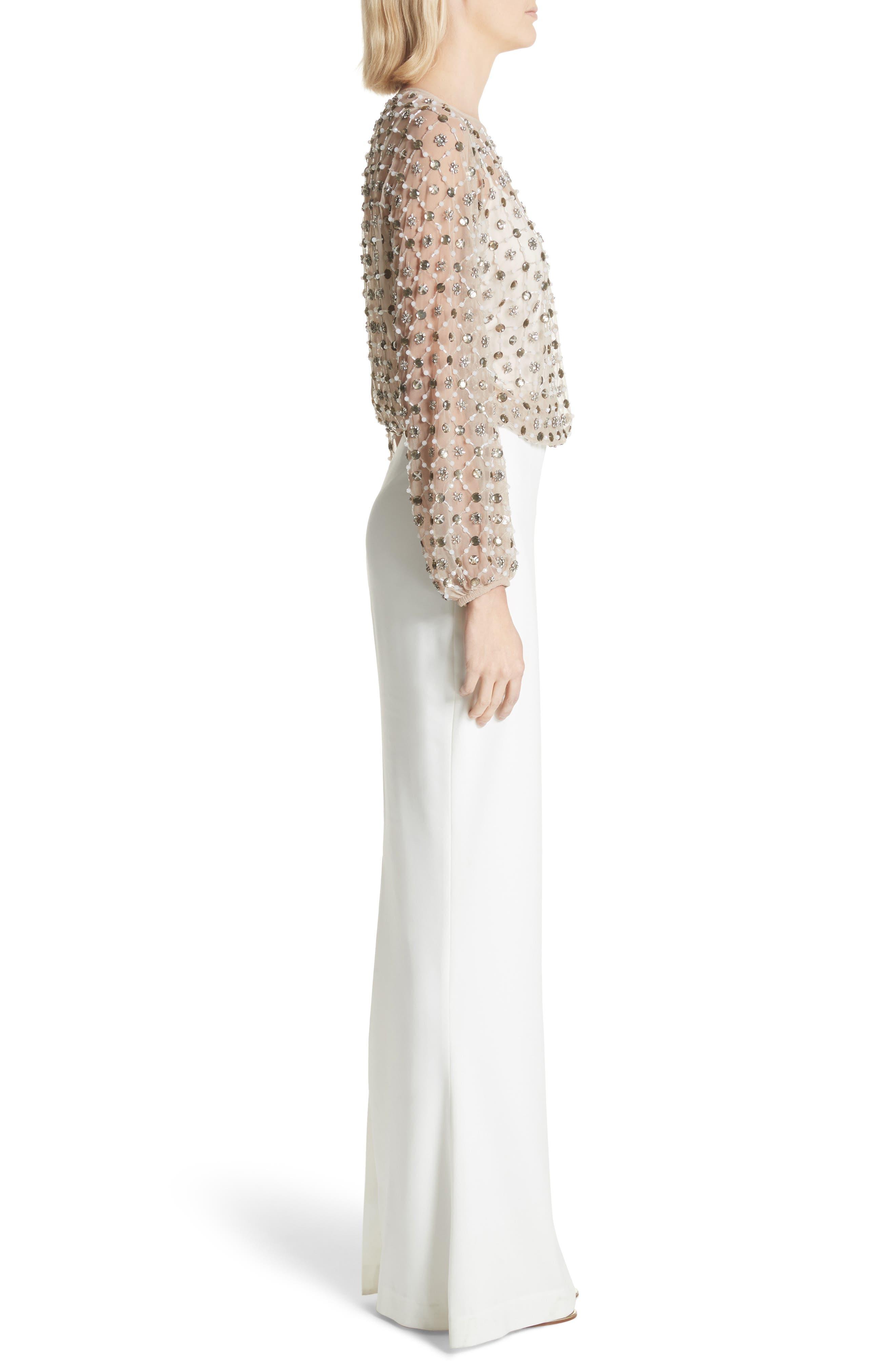 Nora Beaded Blouson Column Gown,                             Alternate thumbnail 3, color,                             900