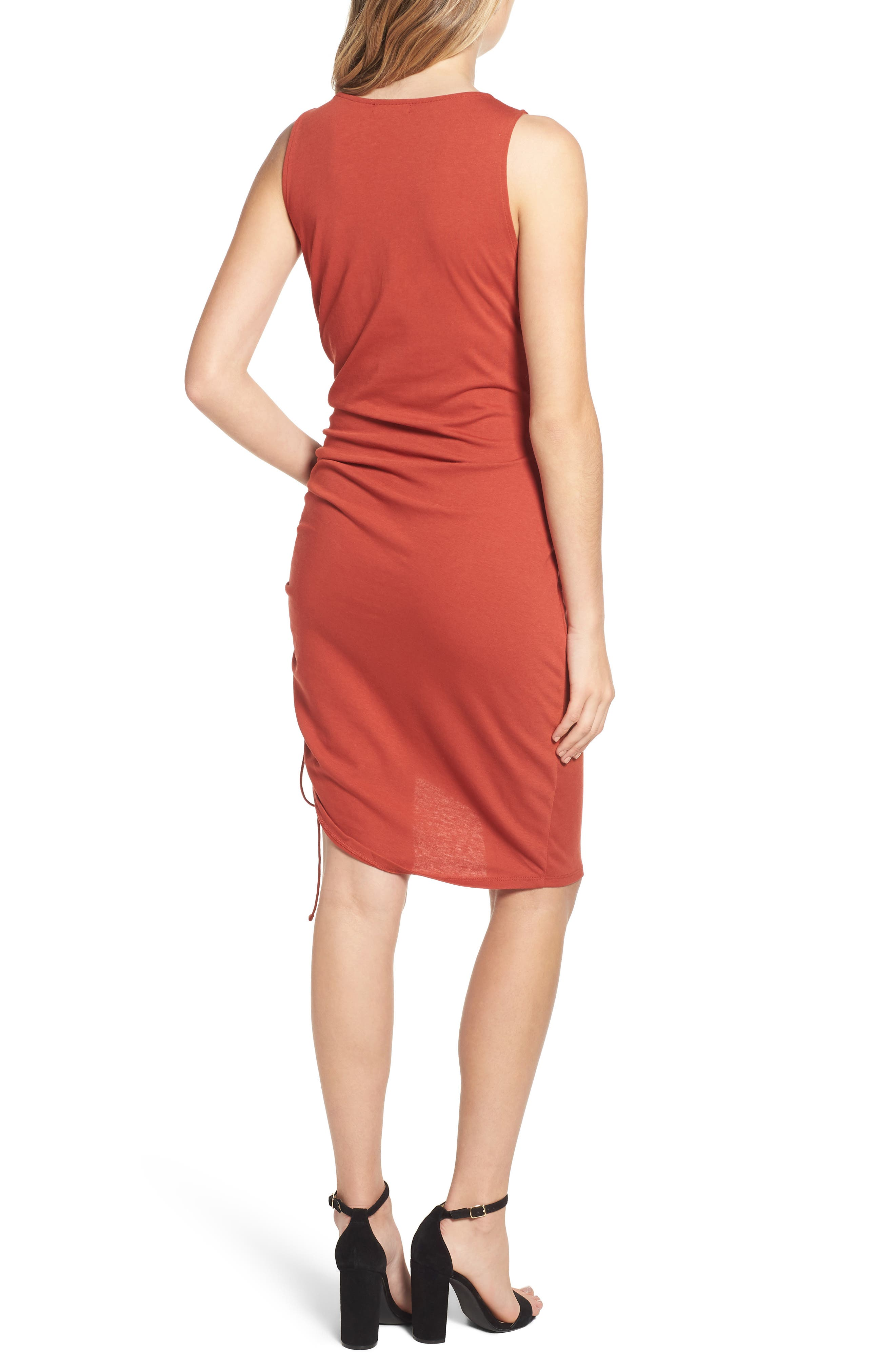 Side Shirred Body-Con Dress,                             Alternate thumbnail 2, color,                             RED OCHRE