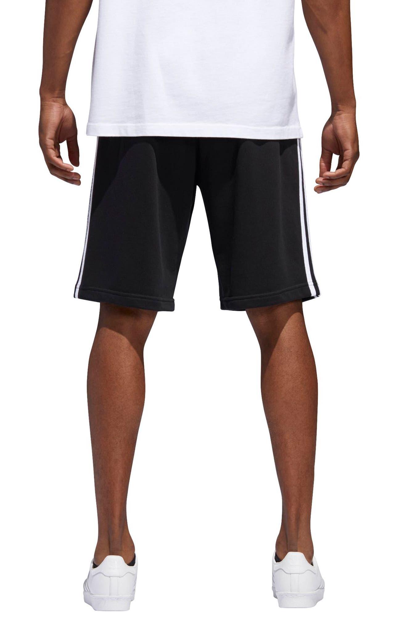 3-Stripes Shorts,                             Alternate thumbnail 2, color,                             BLACK/ WHITE