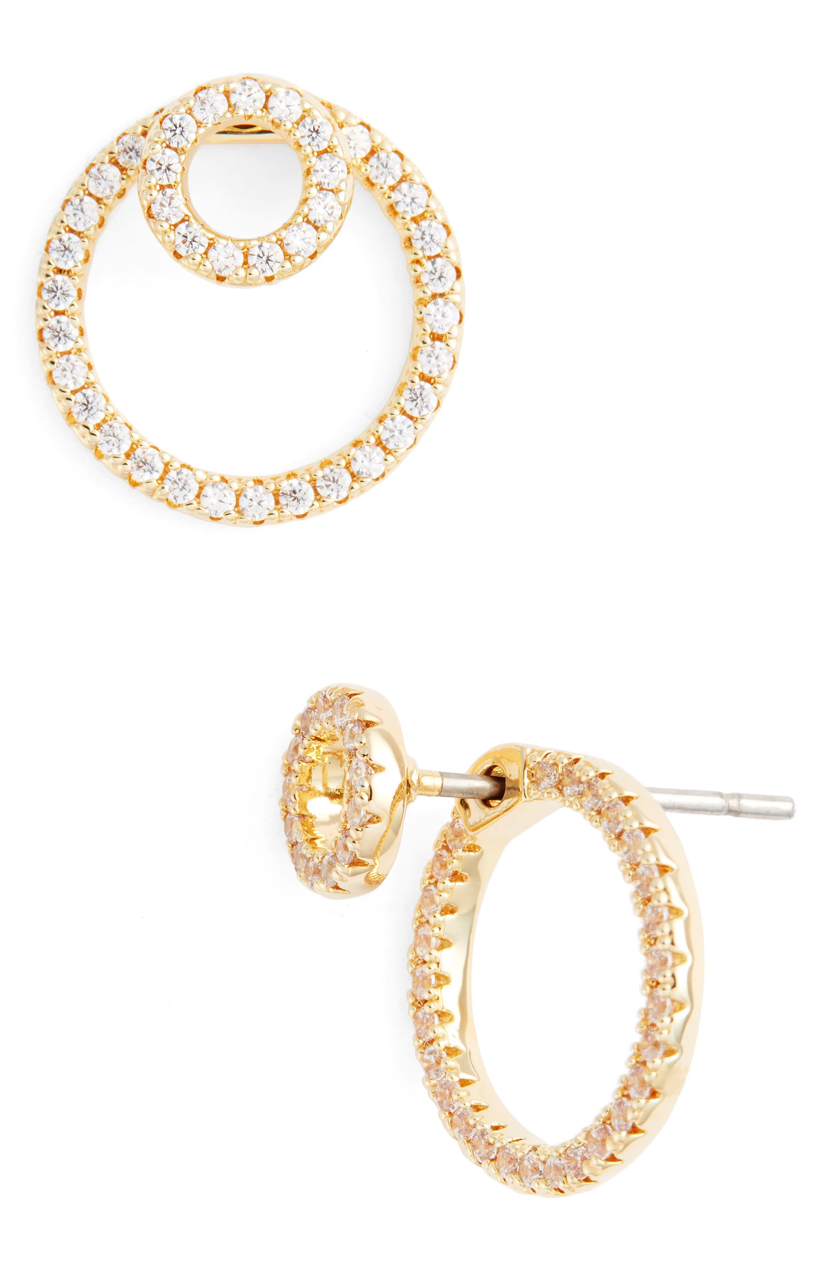 Pavé Double Hoop Earrings,                             Main thumbnail 1, color,                             710