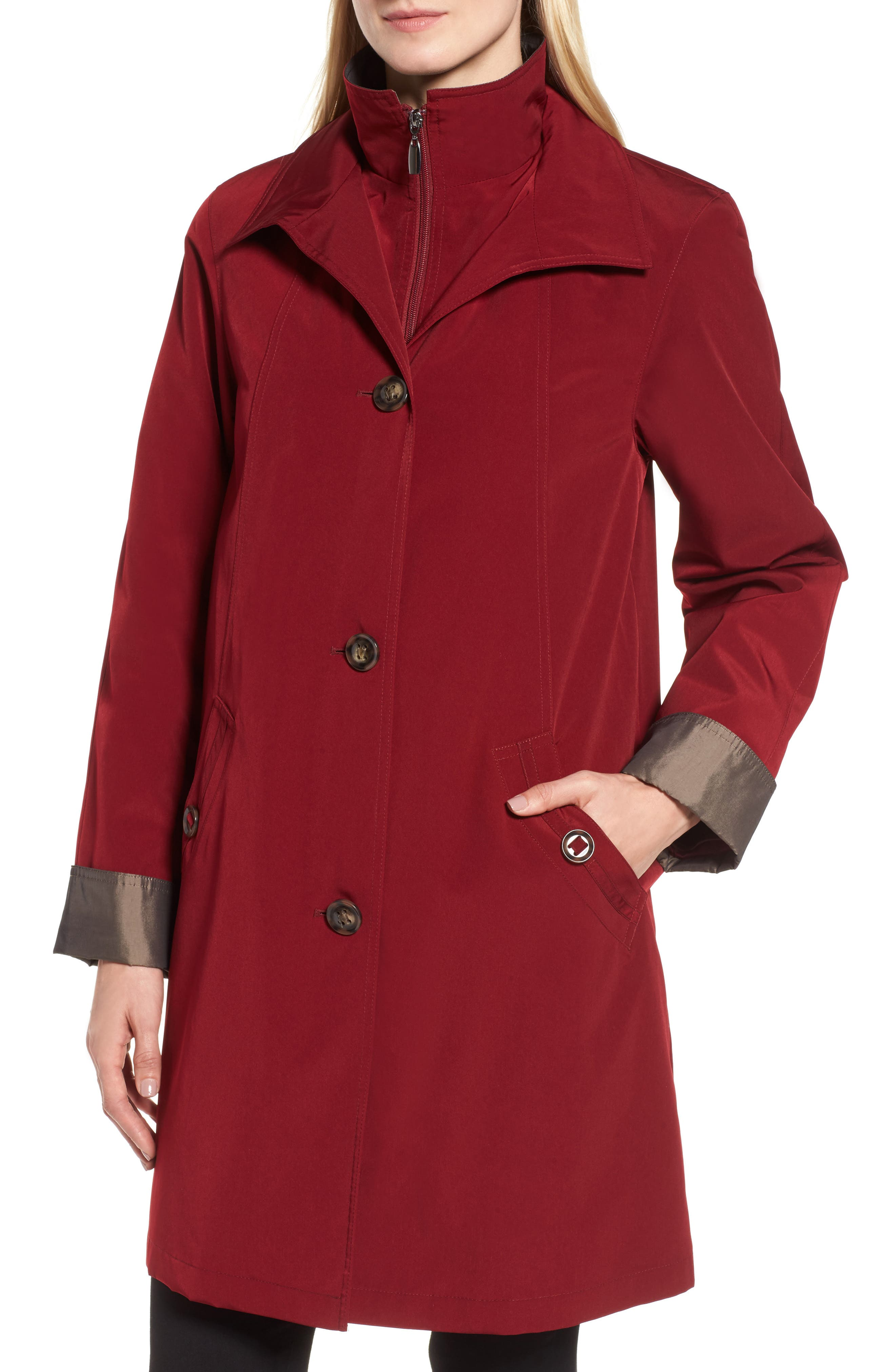 A-Line Raincoat with Detachable Hood & Liner,                             Alternate thumbnail 16, color,