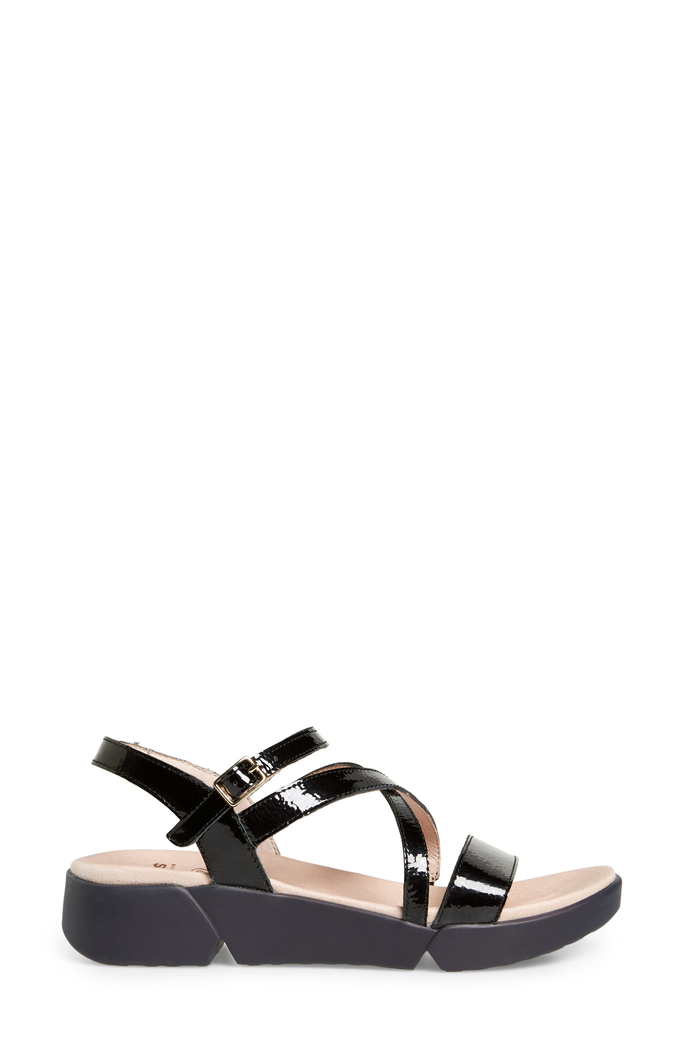 Wedge Sandal,                             Alternate thumbnail 3, color,                             BLACK PATENT LEATHER