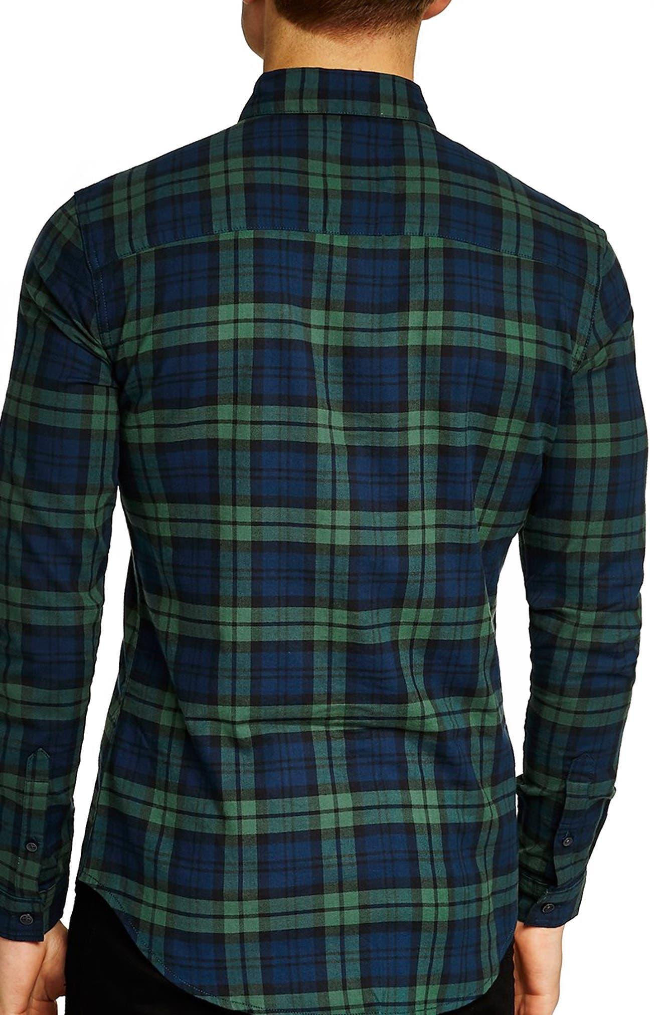 Muscle Fit Black Watch Plaid Shirt,                             Alternate thumbnail 2, color,                             411