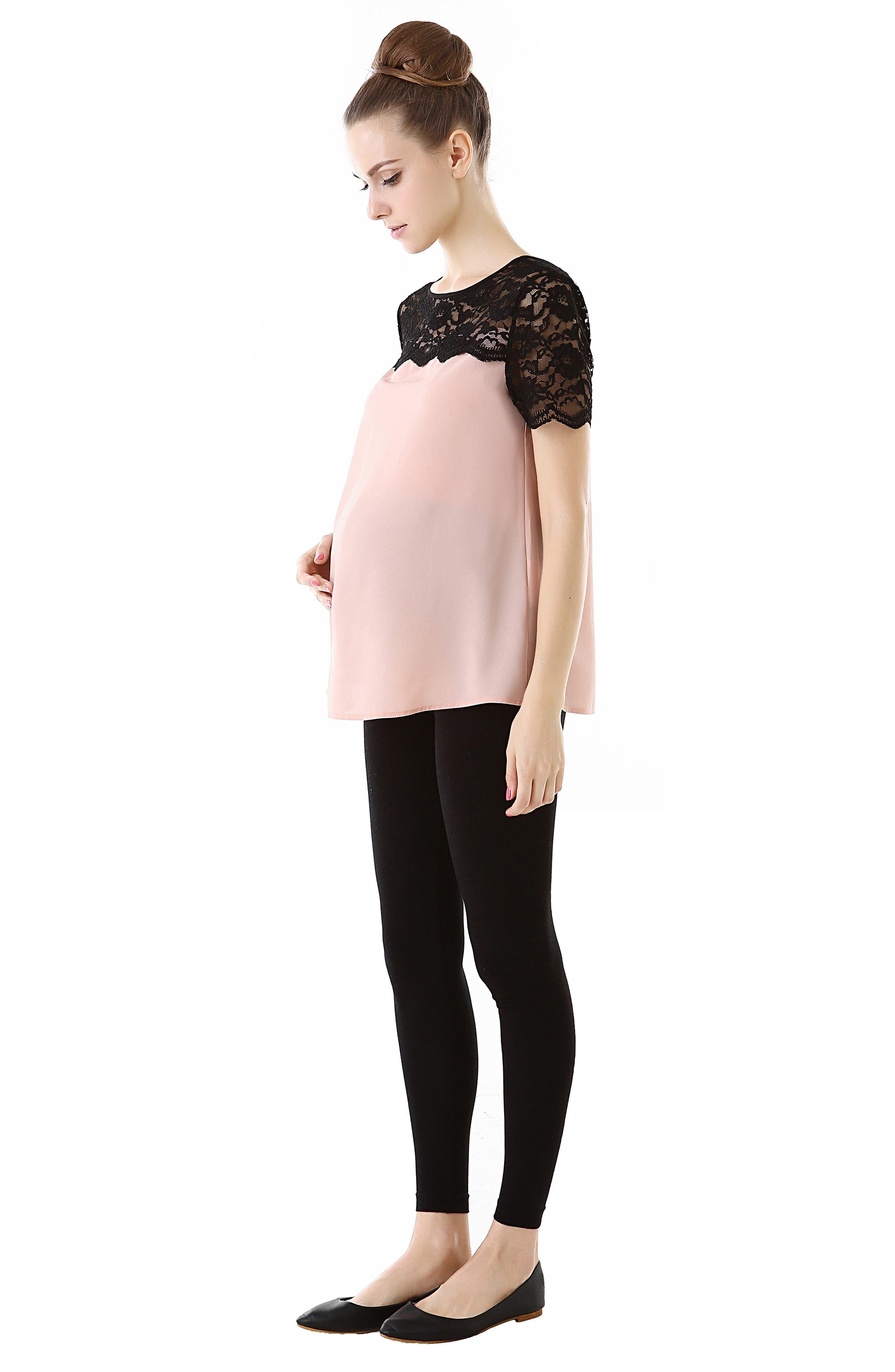 Lace Yoke Maternity Blouse,                             Alternate thumbnail 3, color,                             BLUSH