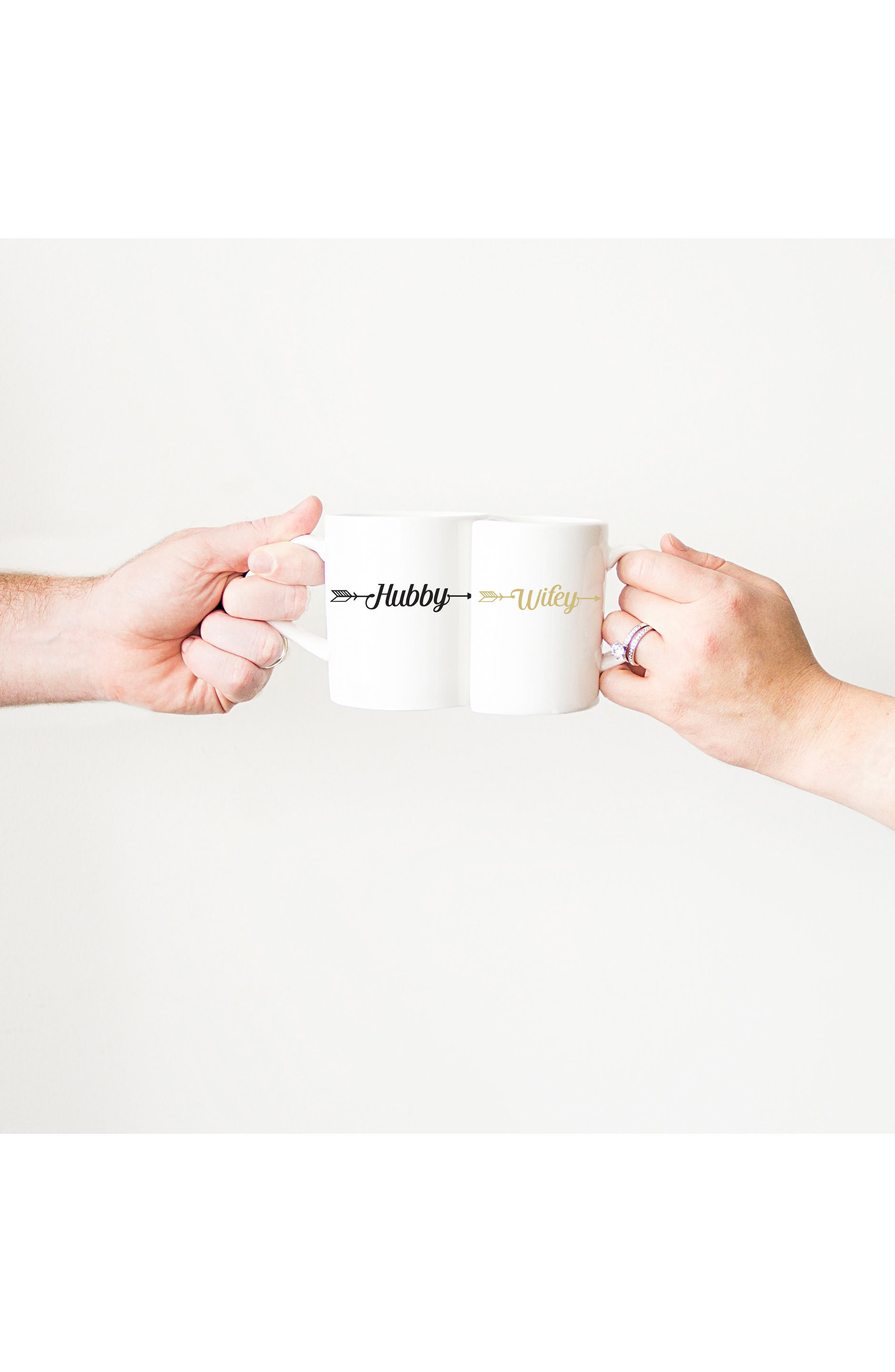 Hubby/Wifey Set of 2 Coffee Mugs,                             Alternate thumbnail 3, color,                             100