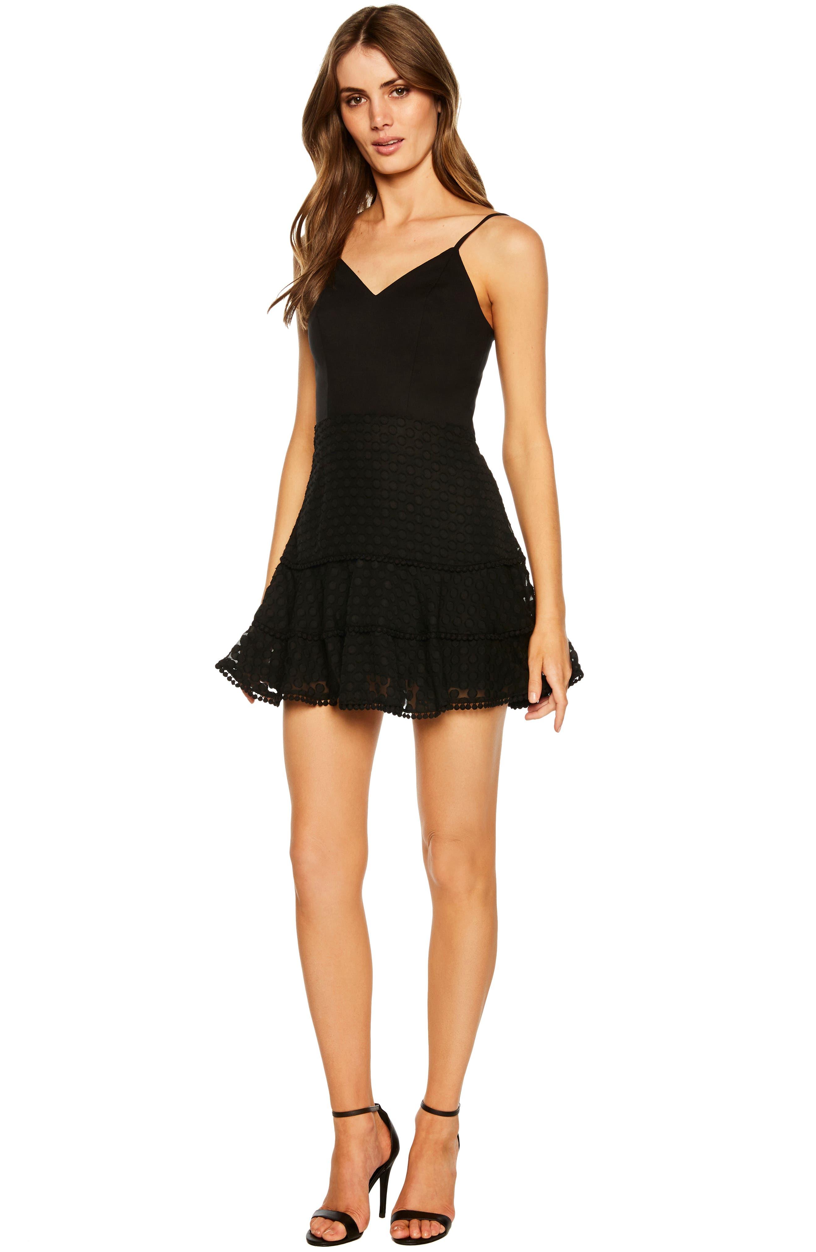 Anna Pompom Trim Miniskirt,                             Alternate thumbnail 5, color,                             BLACK
