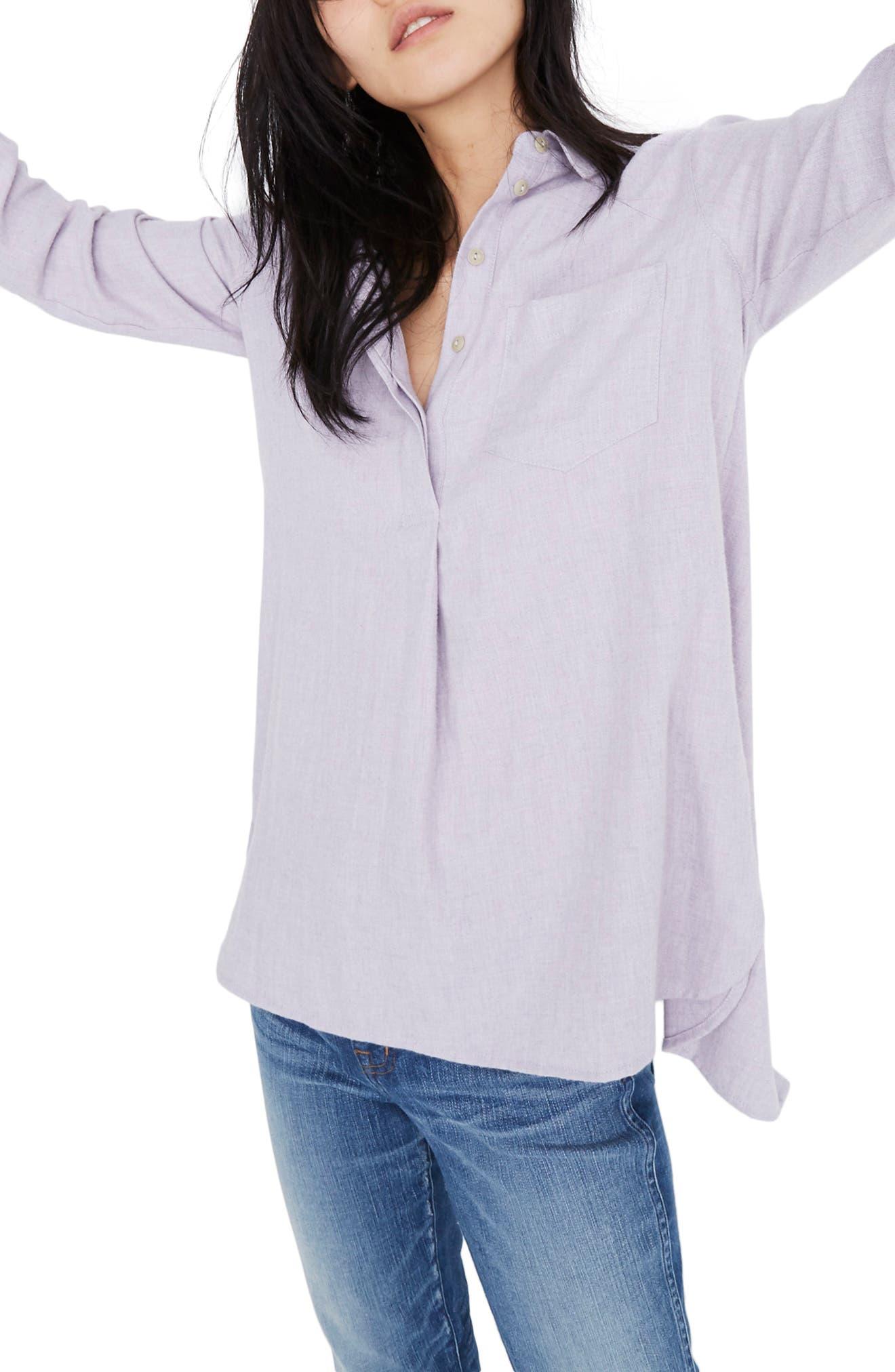 MADEWELL,                             Ex-Boyfriend Button Back Flannel Shirt,                             Alternate thumbnail 3, color,                             HEATHER THISTLE