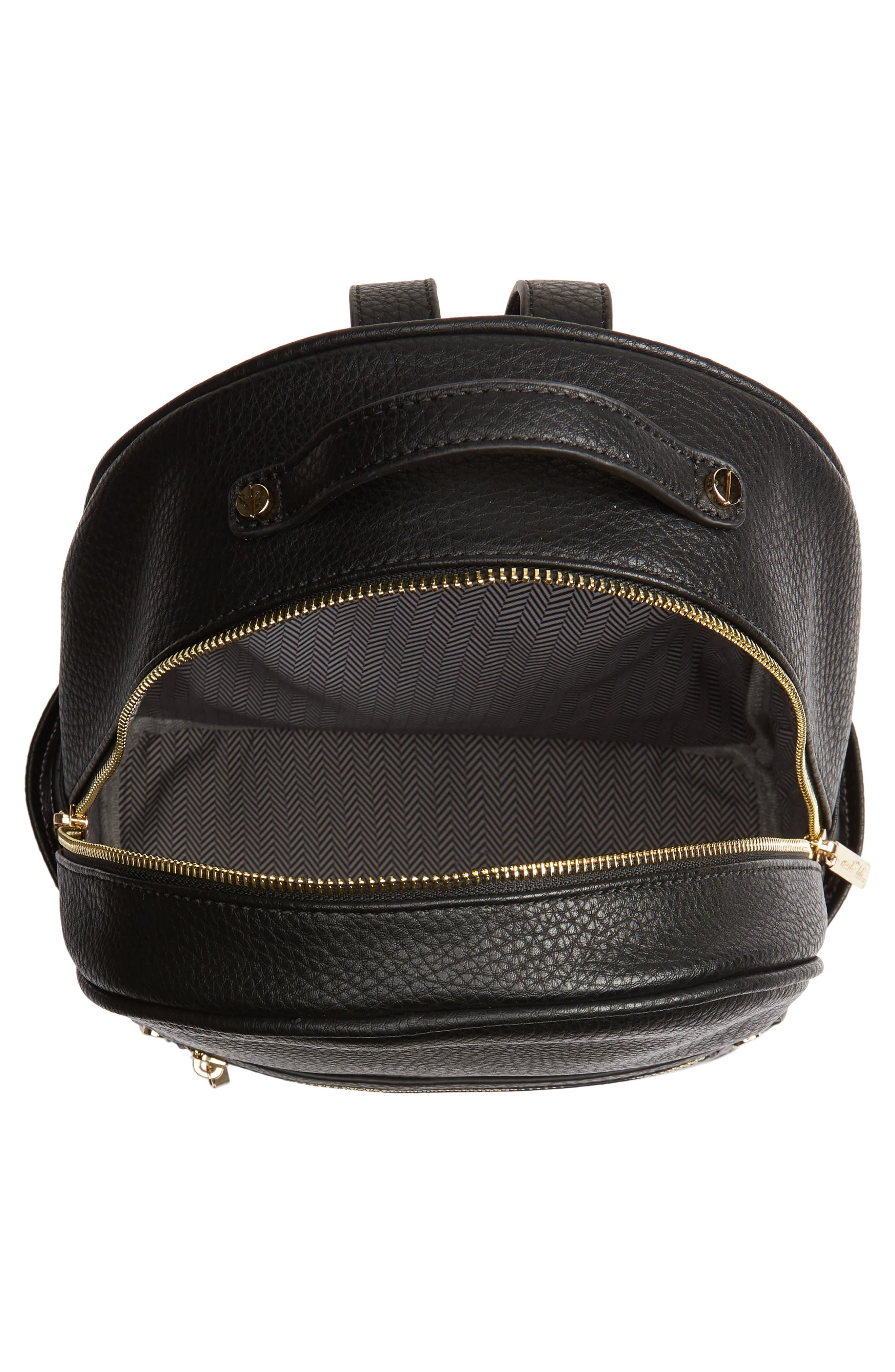 MALI + LILI,                             Addie Vegan Leather Backpack,                             Alternate thumbnail 4, color,                             BLACK