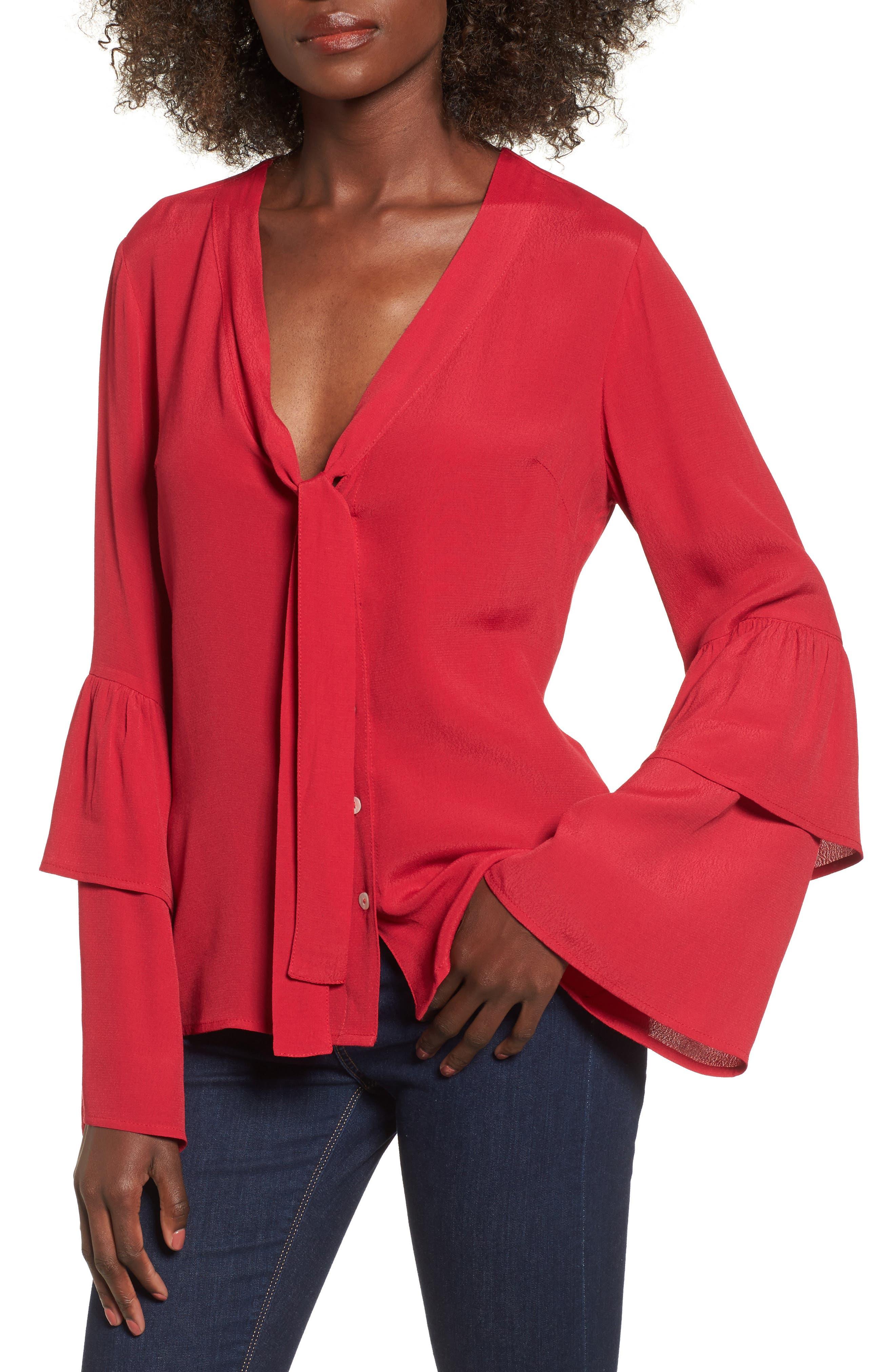 Cherry Nights Ruffle Sleeve Blouse,                         Main,                         color, 610