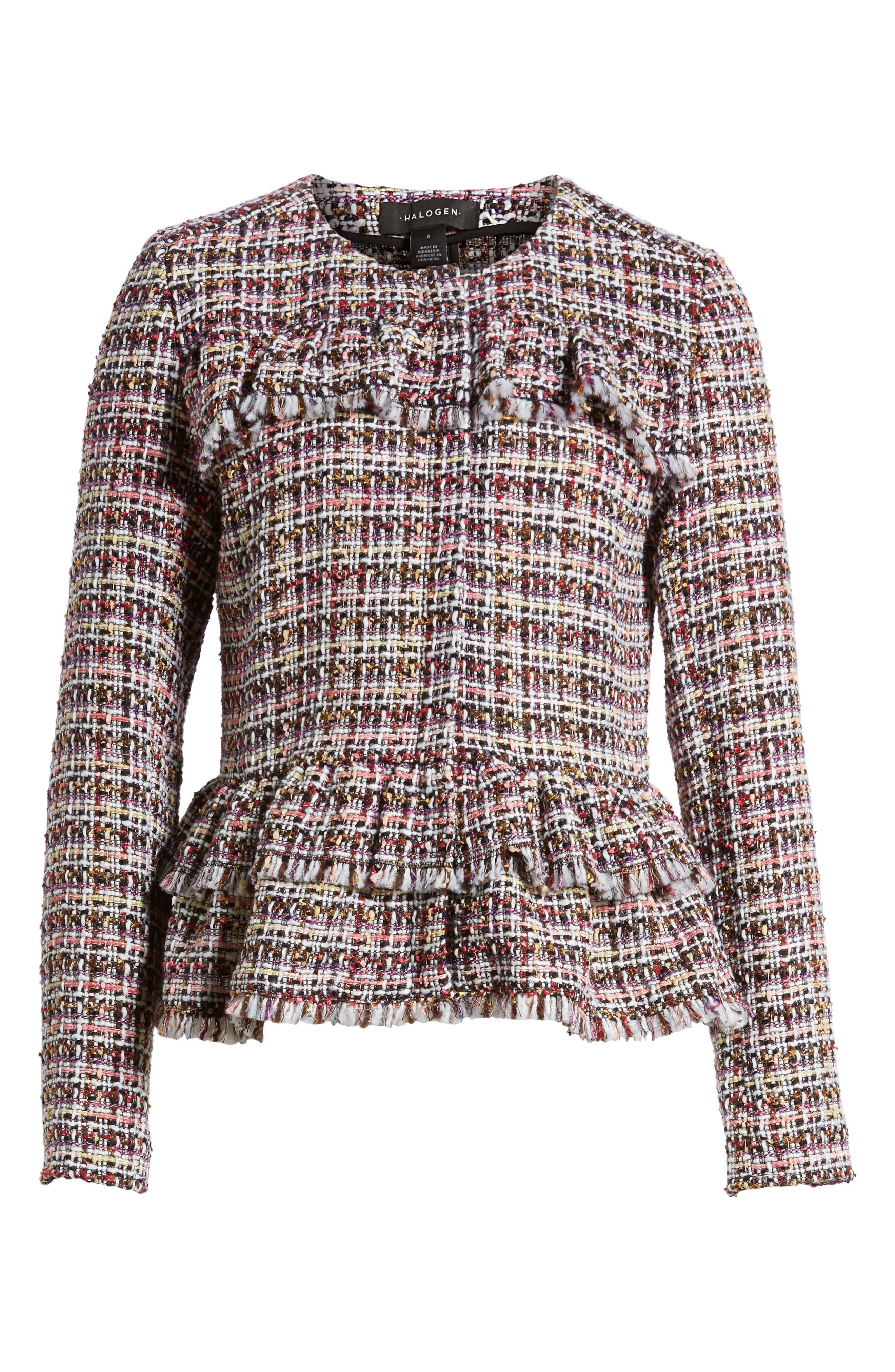 Ruffle Detail Tweed Jacket,                             Alternate thumbnail 5, color,                             660