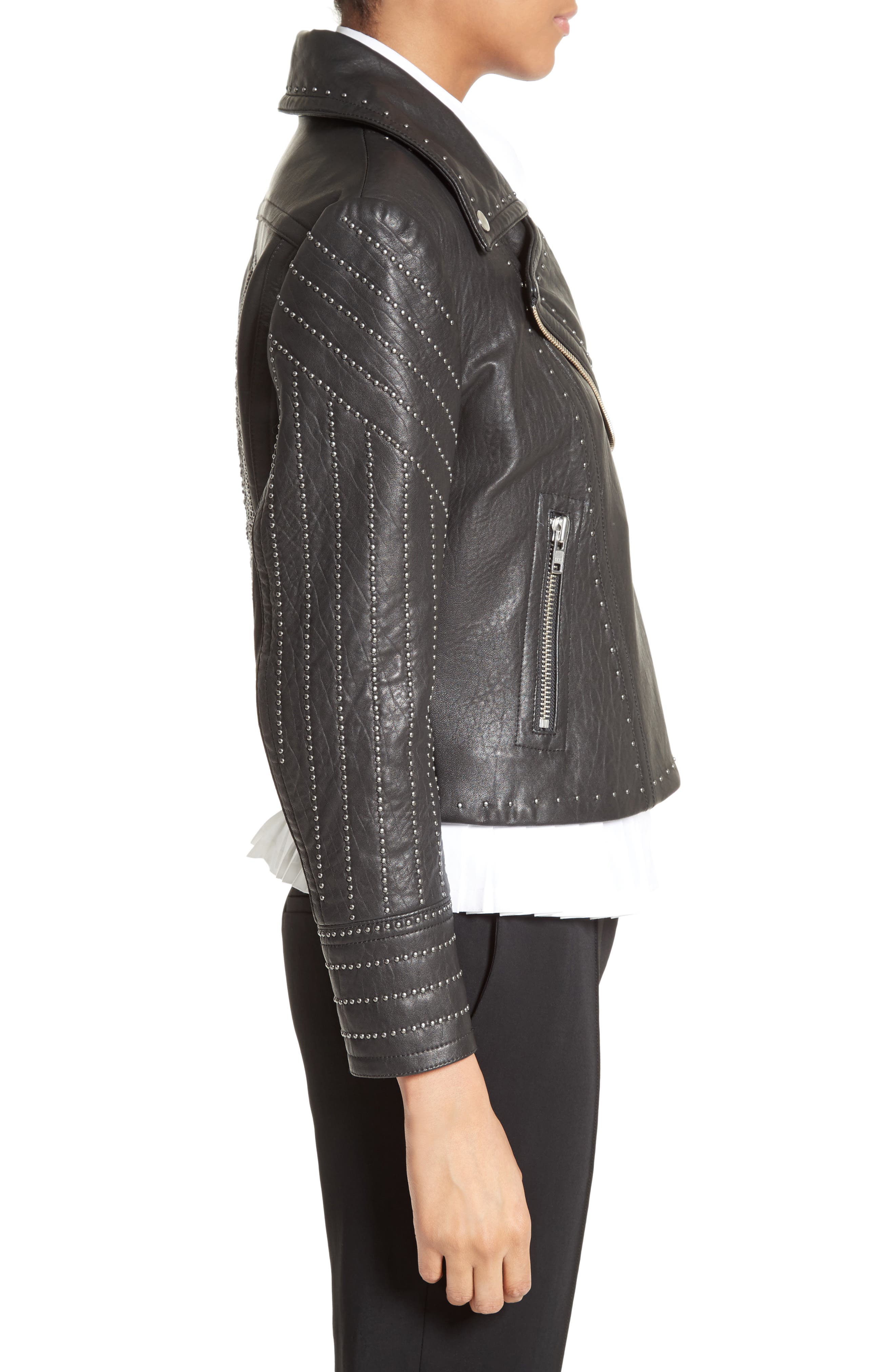 Studded Leather Jacket,                             Alternate thumbnail 3, color,                             001