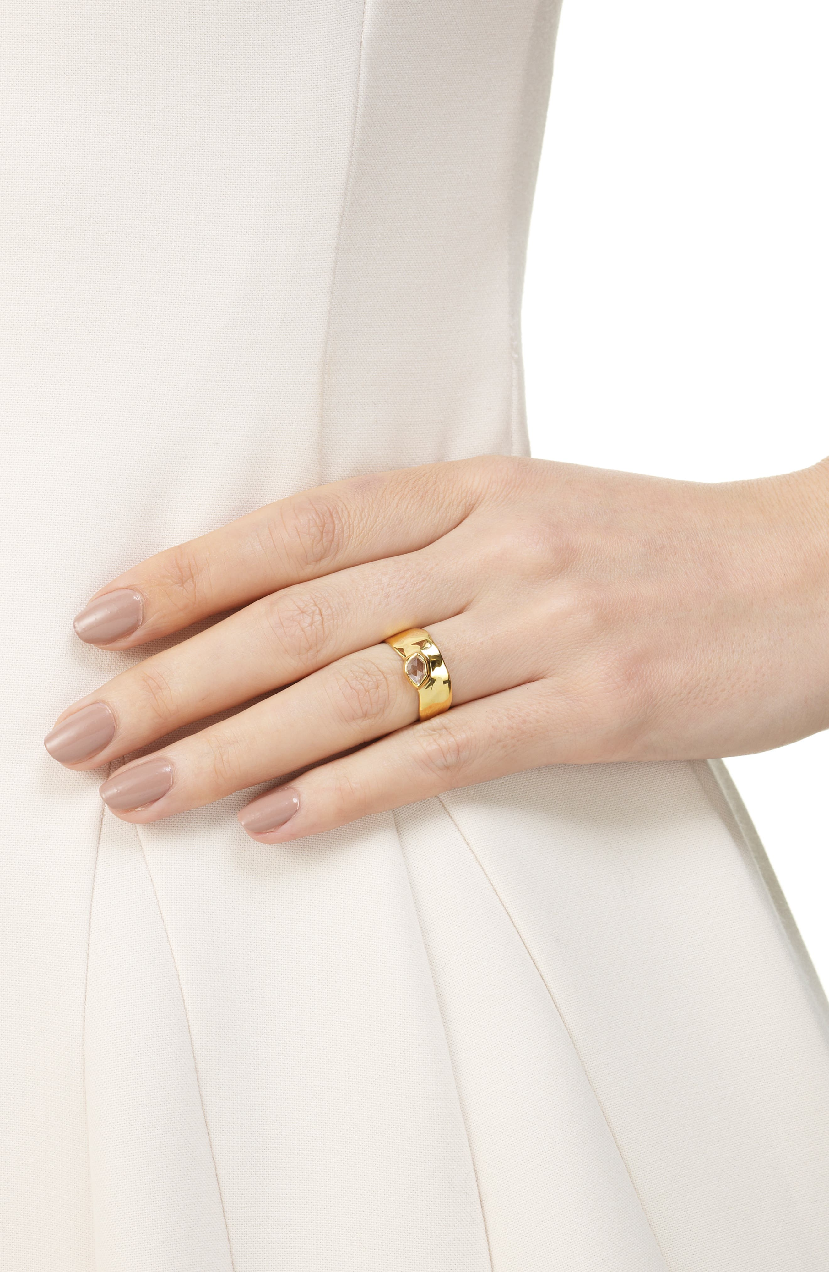 'Siren' Wide Band Ring,                             Alternate thumbnail 2, color,                             WHITE TOPAZ/ YELLOW GOLD