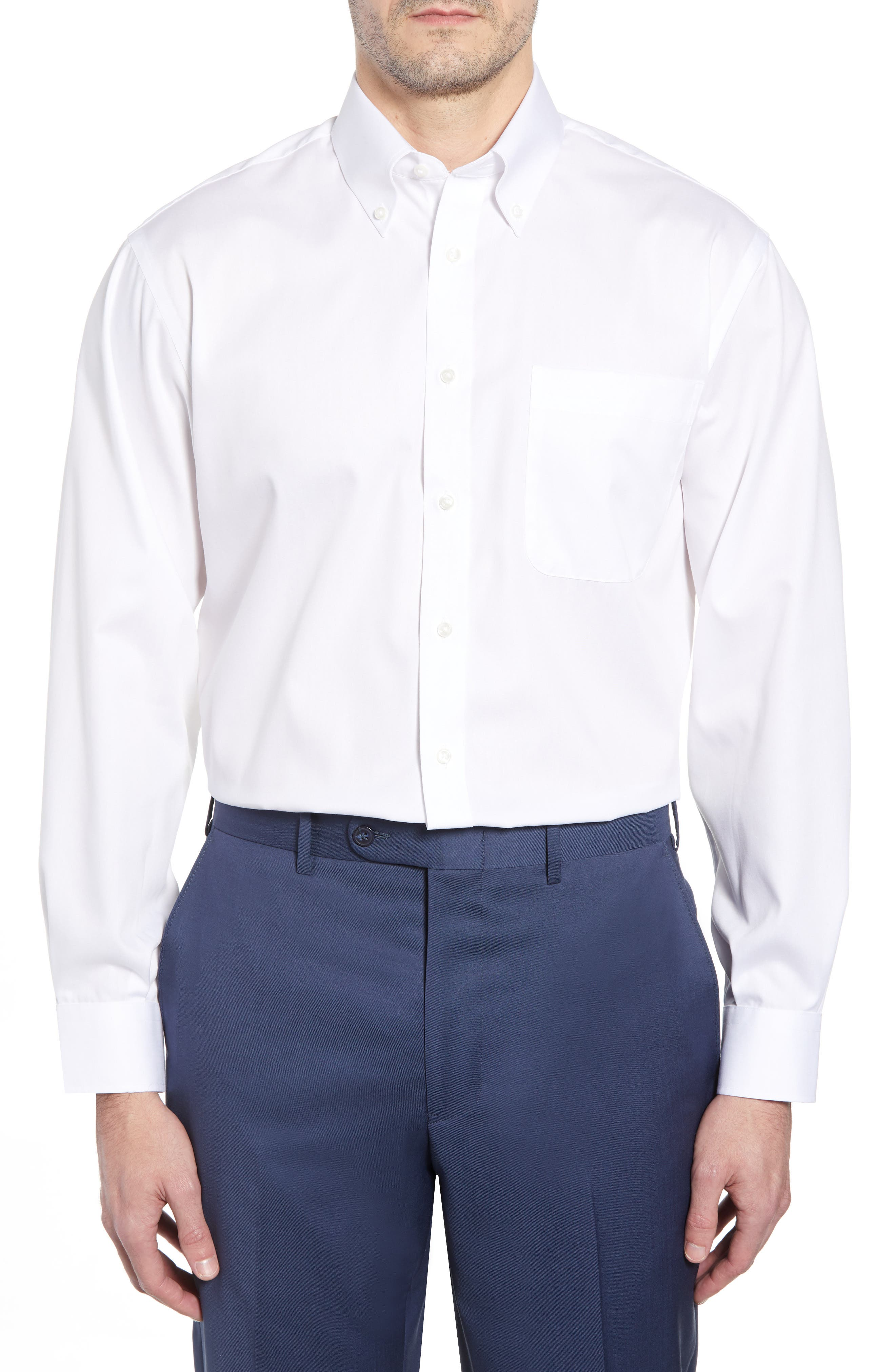 Classic Fit Non-Iron Dress Shirt,                         Main,                         color, WHITE