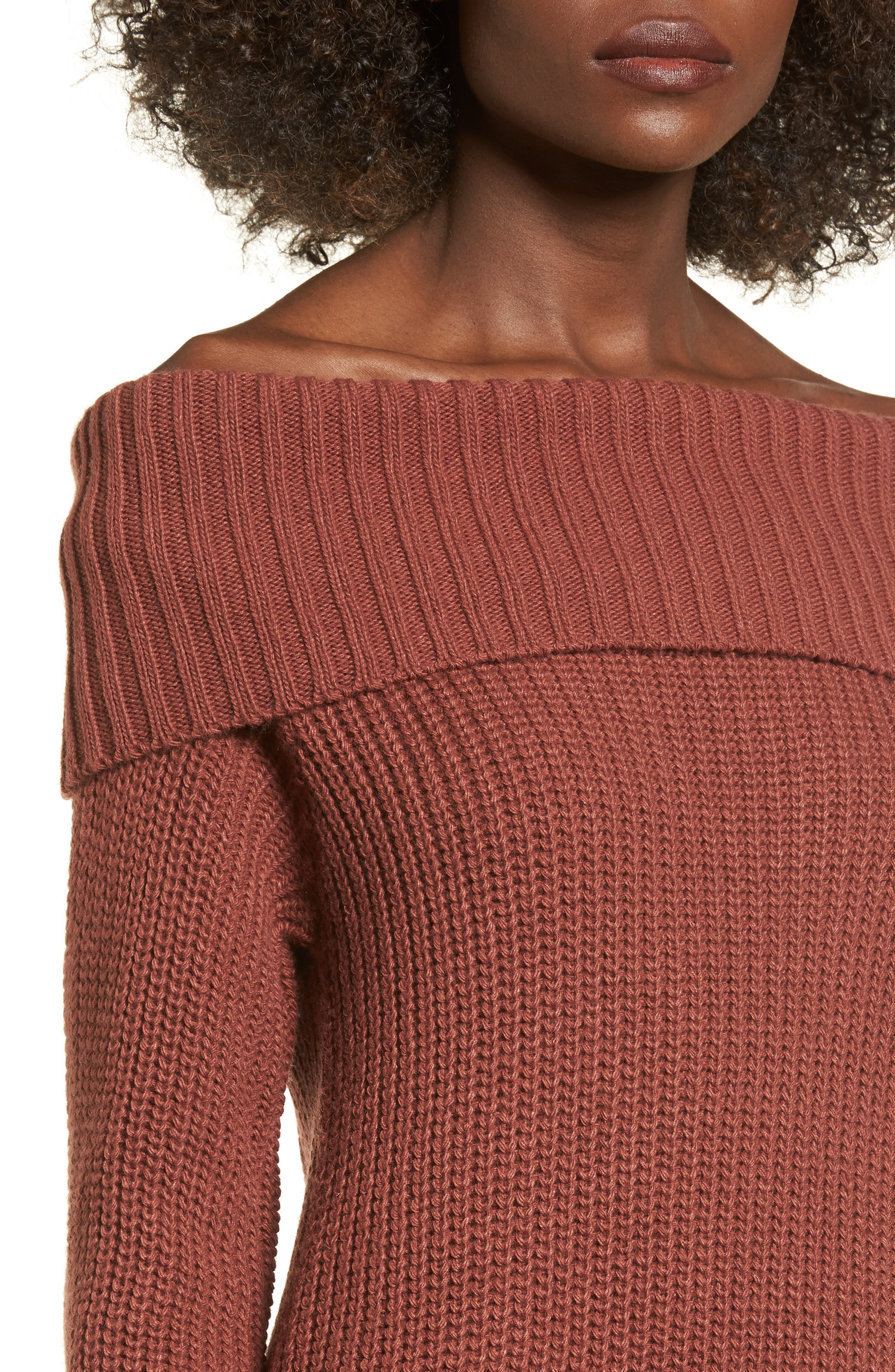 Foldover Off the Shoulder Sweater Dress,                             Alternate thumbnail 15, color,
