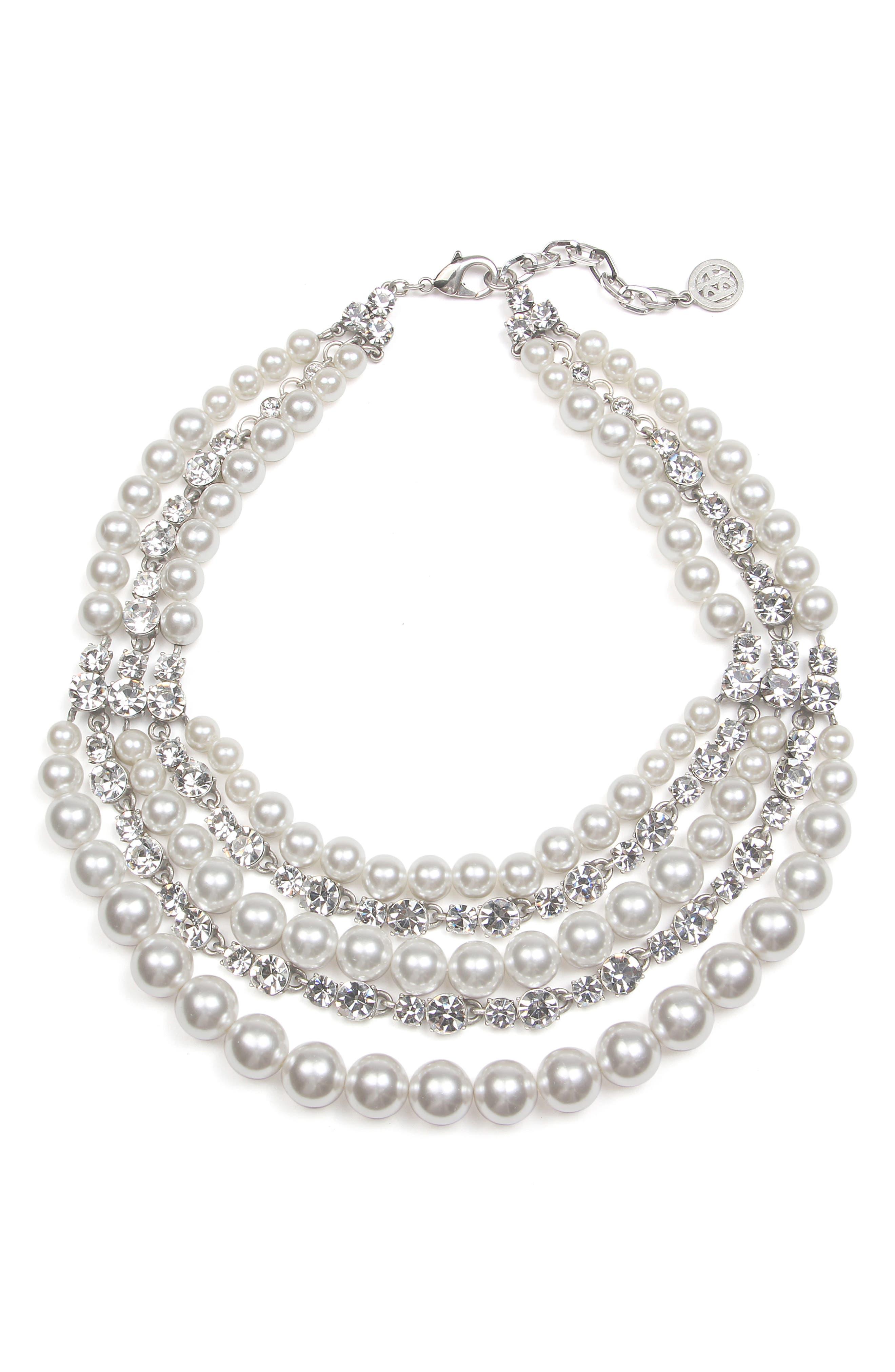 Crystal & Imitation Pearl Multistrand Torsade Necklace,                         Main,                         color, SILVER/ BEIGE