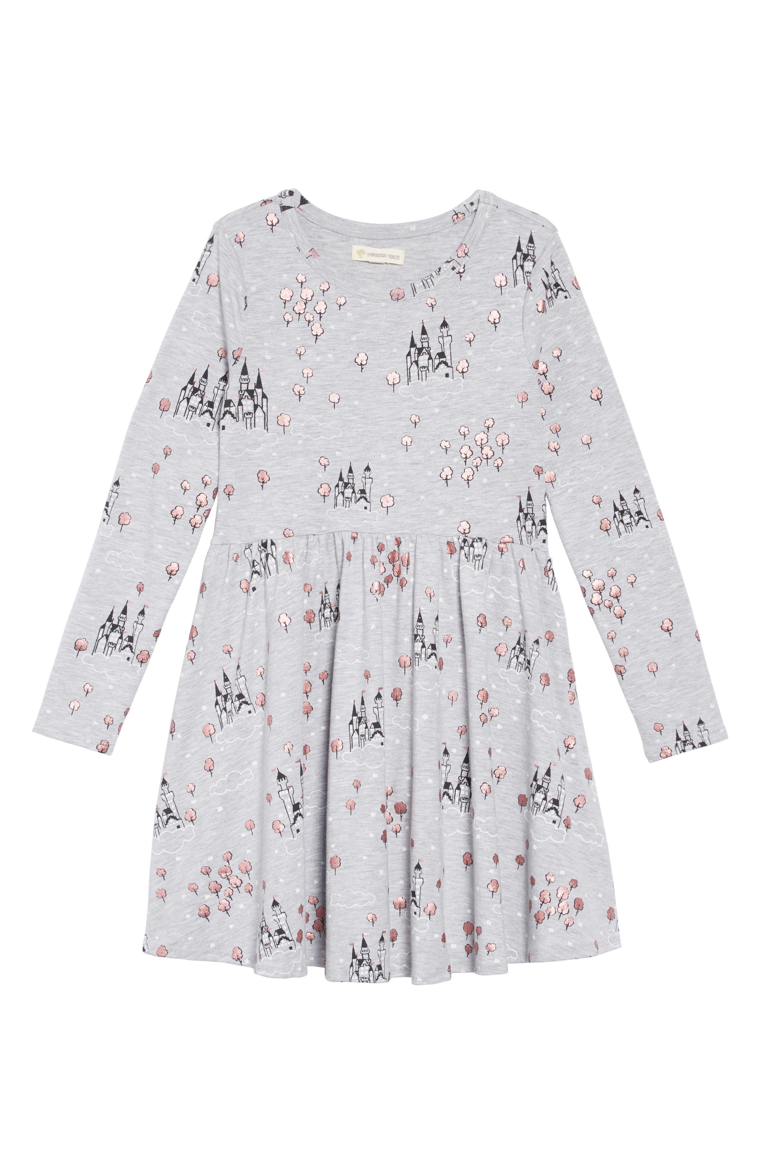 Print Knit Dress,                         Main,                         color, GREY ASH HEATHER CASTLE