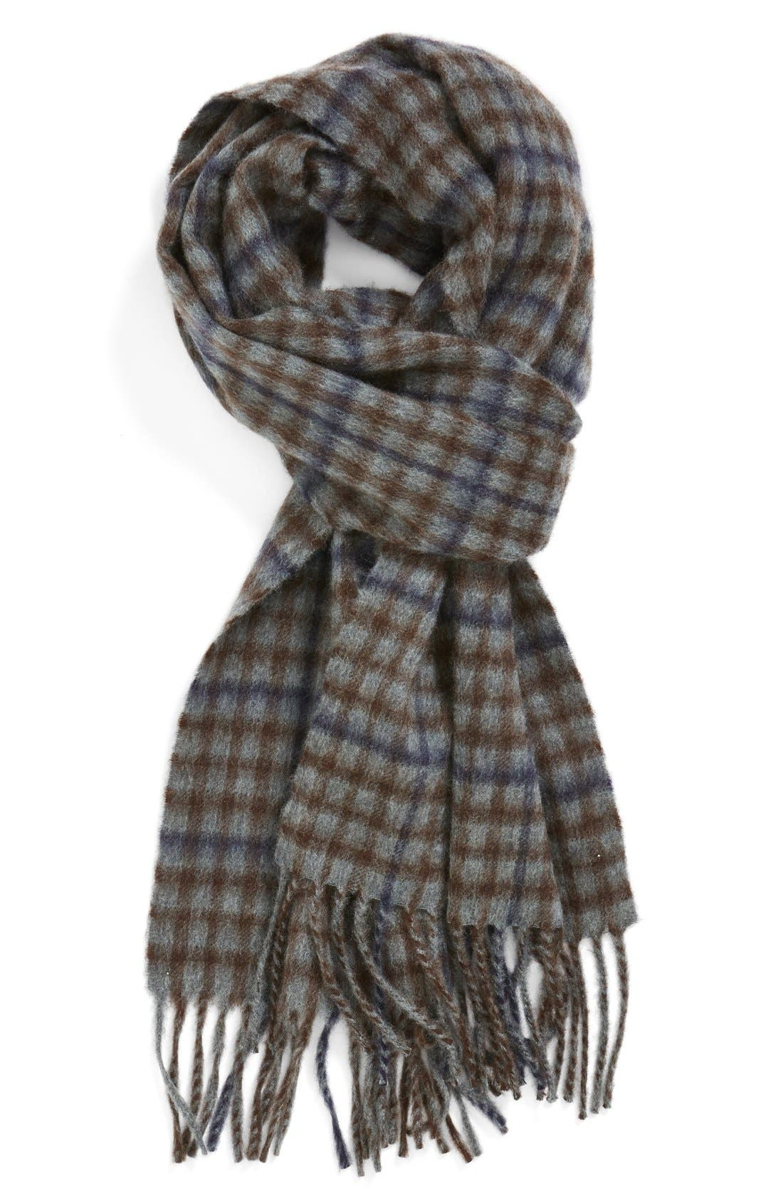 Check Cashmere Scarf,                             Main thumbnail 1, color,                             250