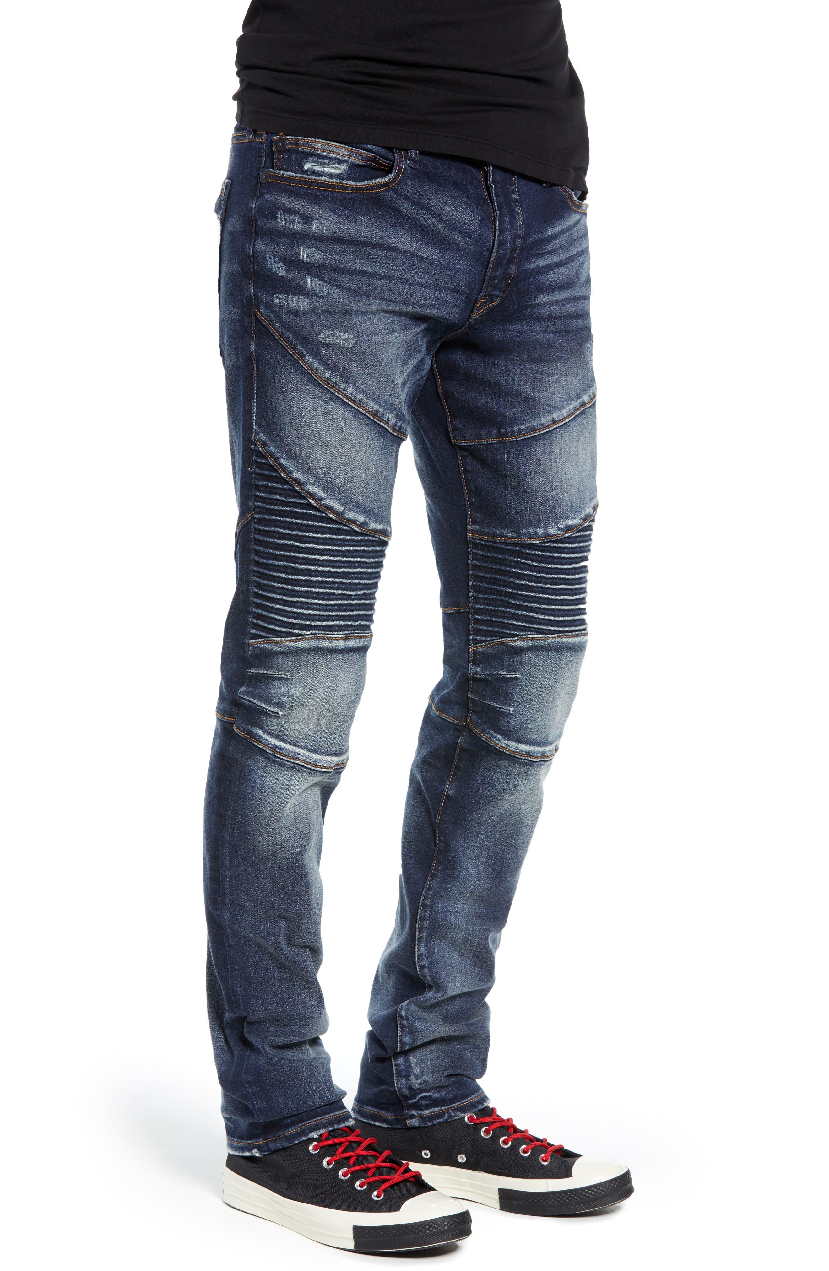 Rocco Skinny Fit Moto Jeans,                             Alternate thumbnail 3, color,                             MINERAL ASPHALT