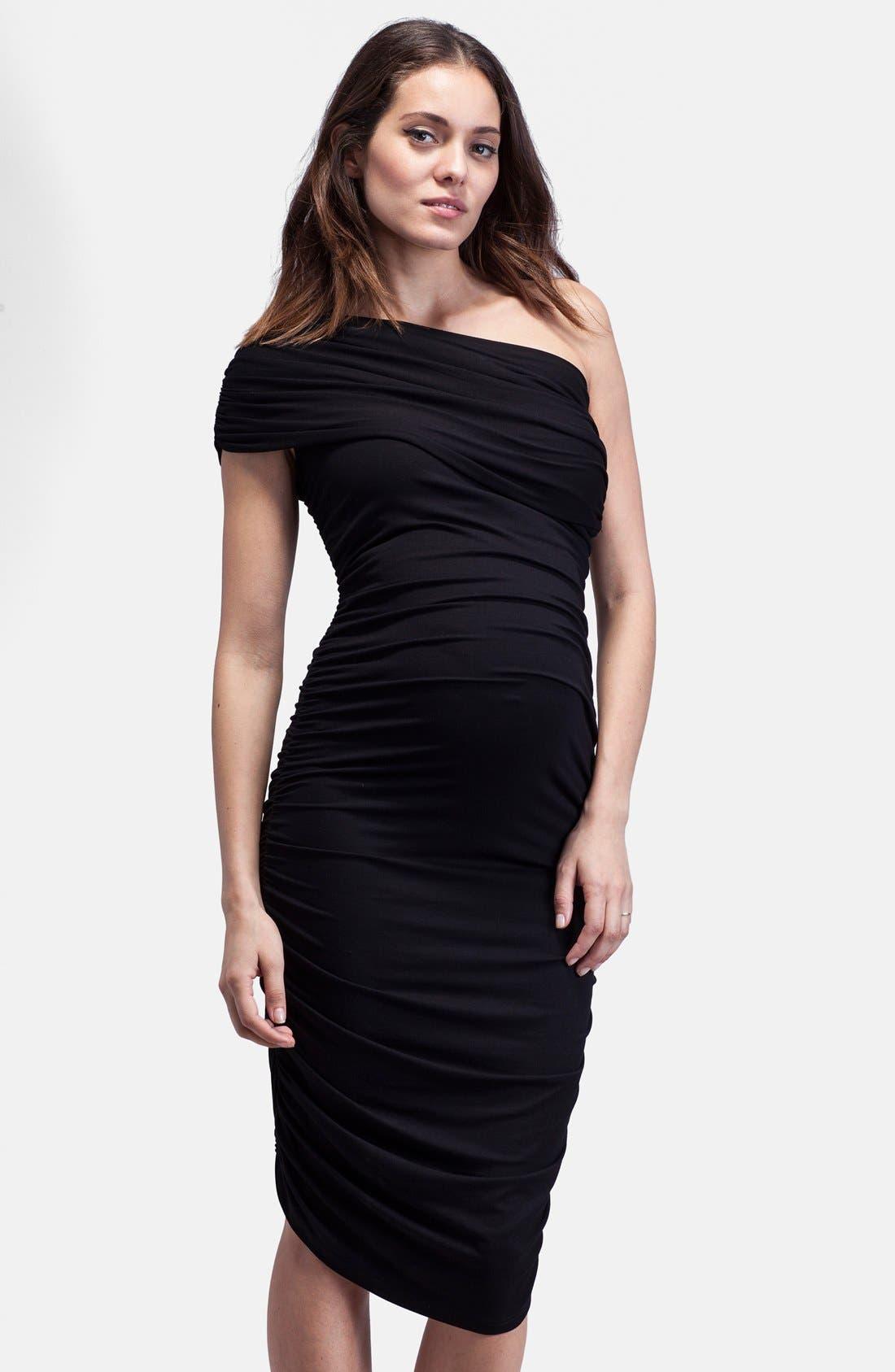 ISABELLA OLIVER,                             Ruched One-Shoulder Maternity Dress,                             Main thumbnail 1, color,                             001