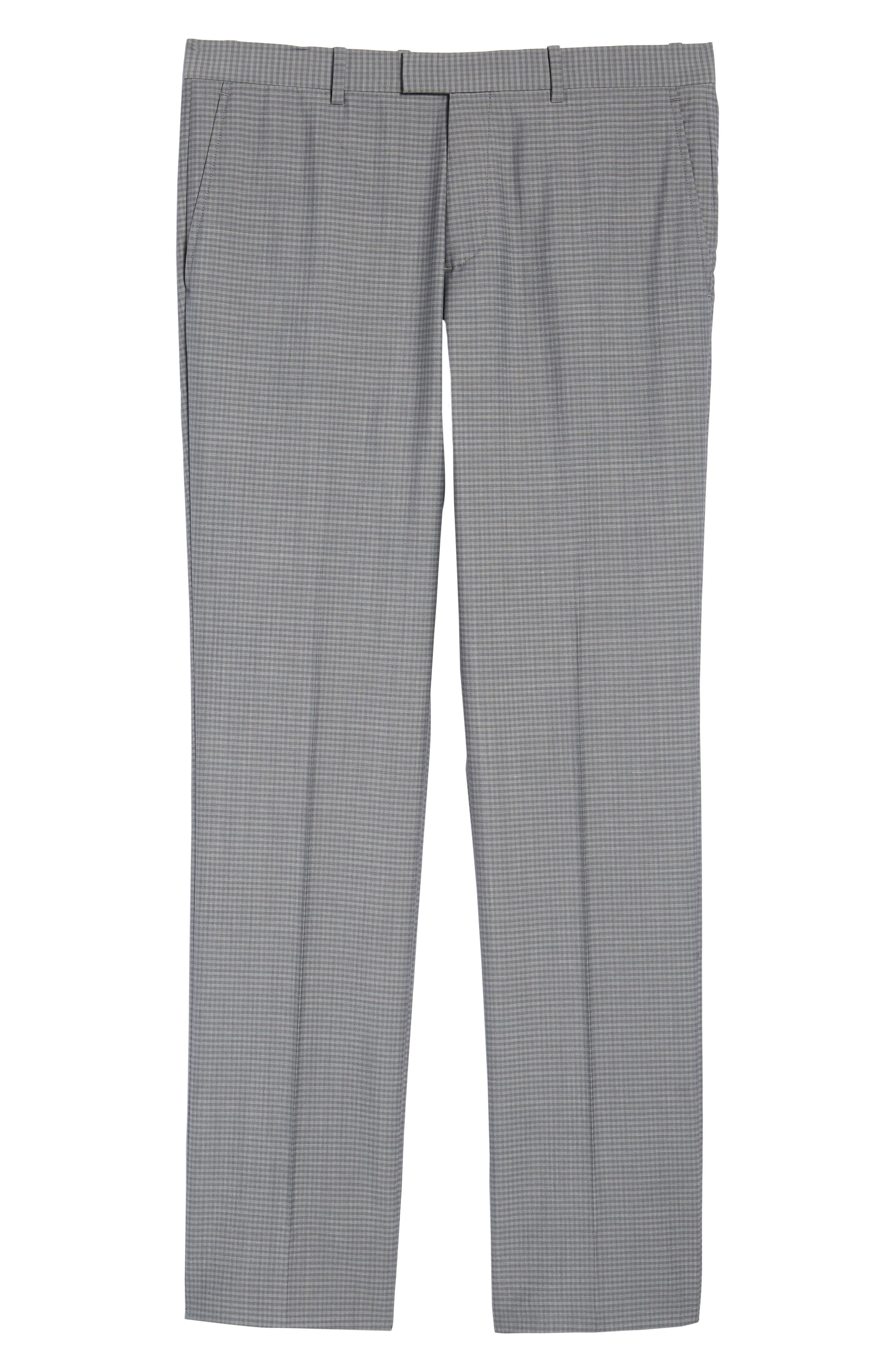 Marlo Flat Front Check Wool Trousers,                             Alternate thumbnail 6, color,                             023