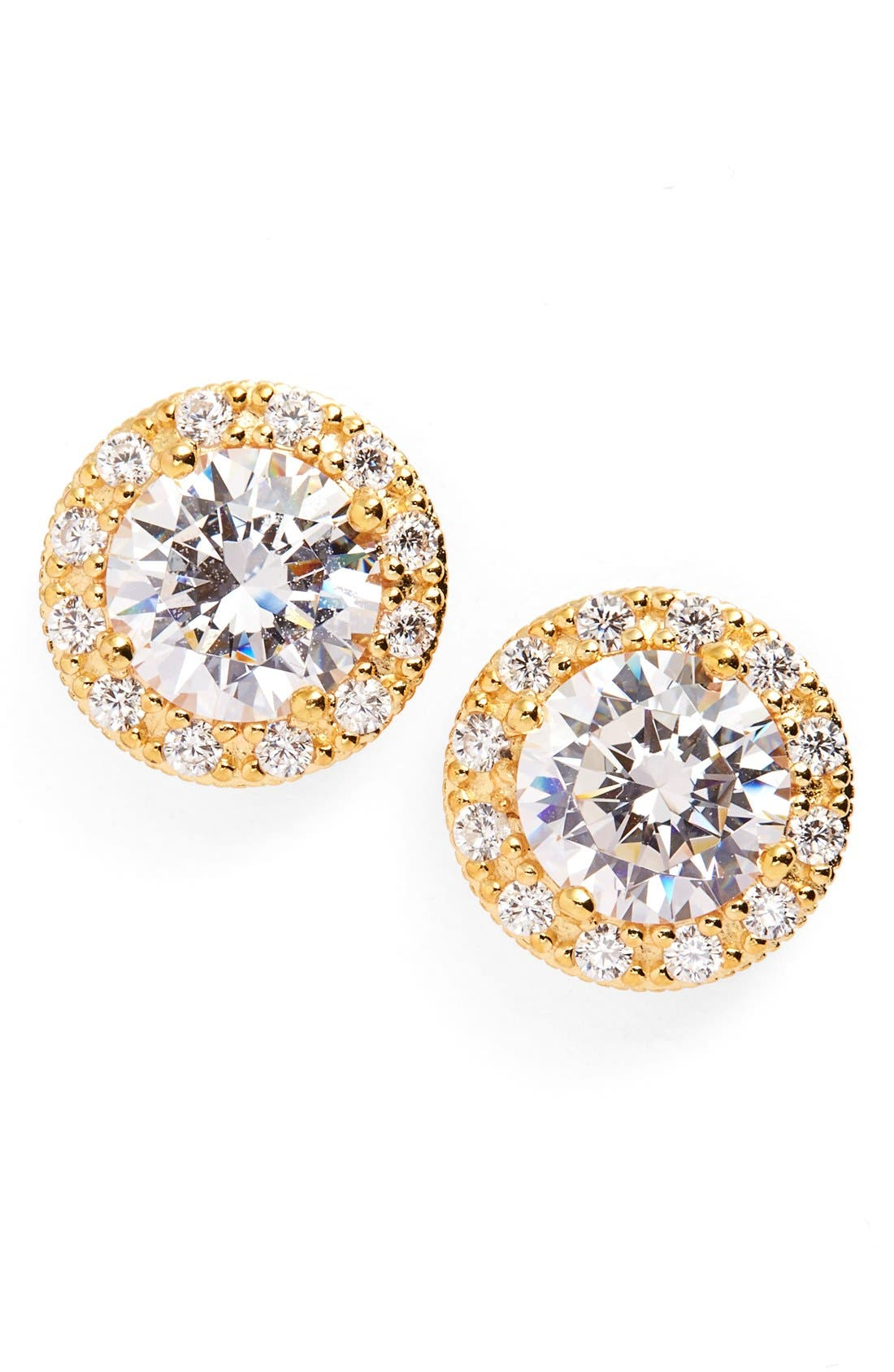 Pavé Round Stud Earrings,                             Alternate thumbnail 6, color,                             GOLD