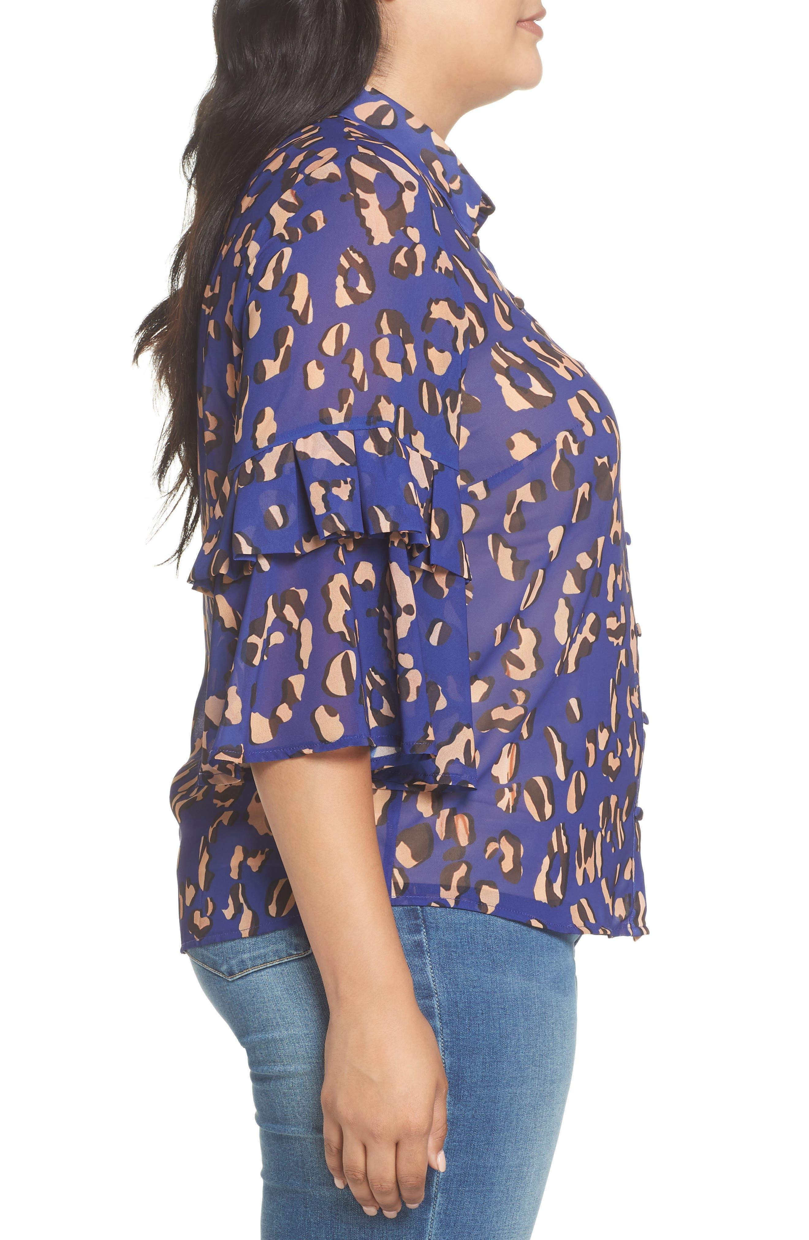 Leopard Print Button Down Shirt,                             Alternate thumbnail 3, color,                             001