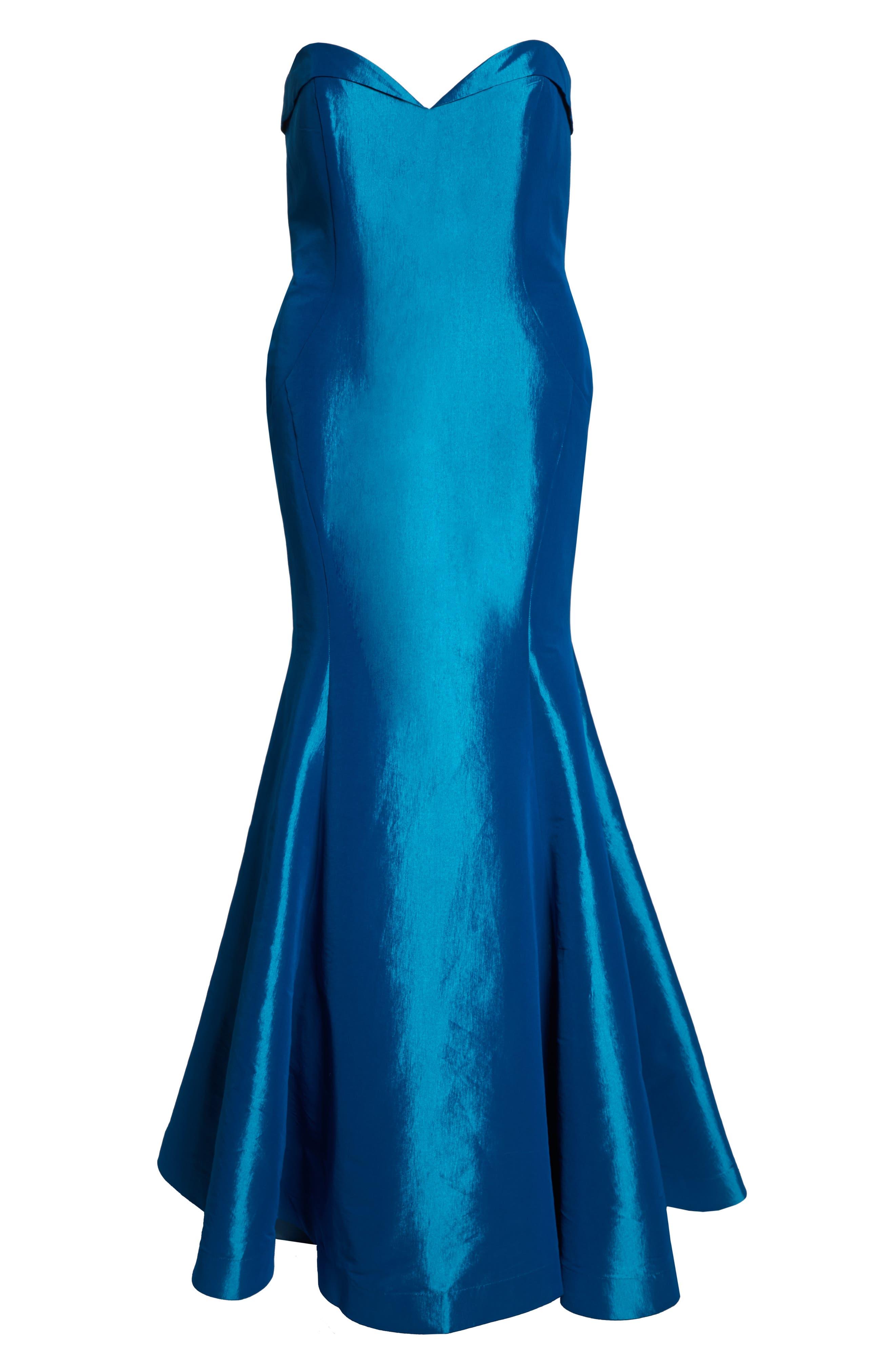 Bustier Mermaid Gown,                             Alternate thumbnail 7, color,                             PEACOCK