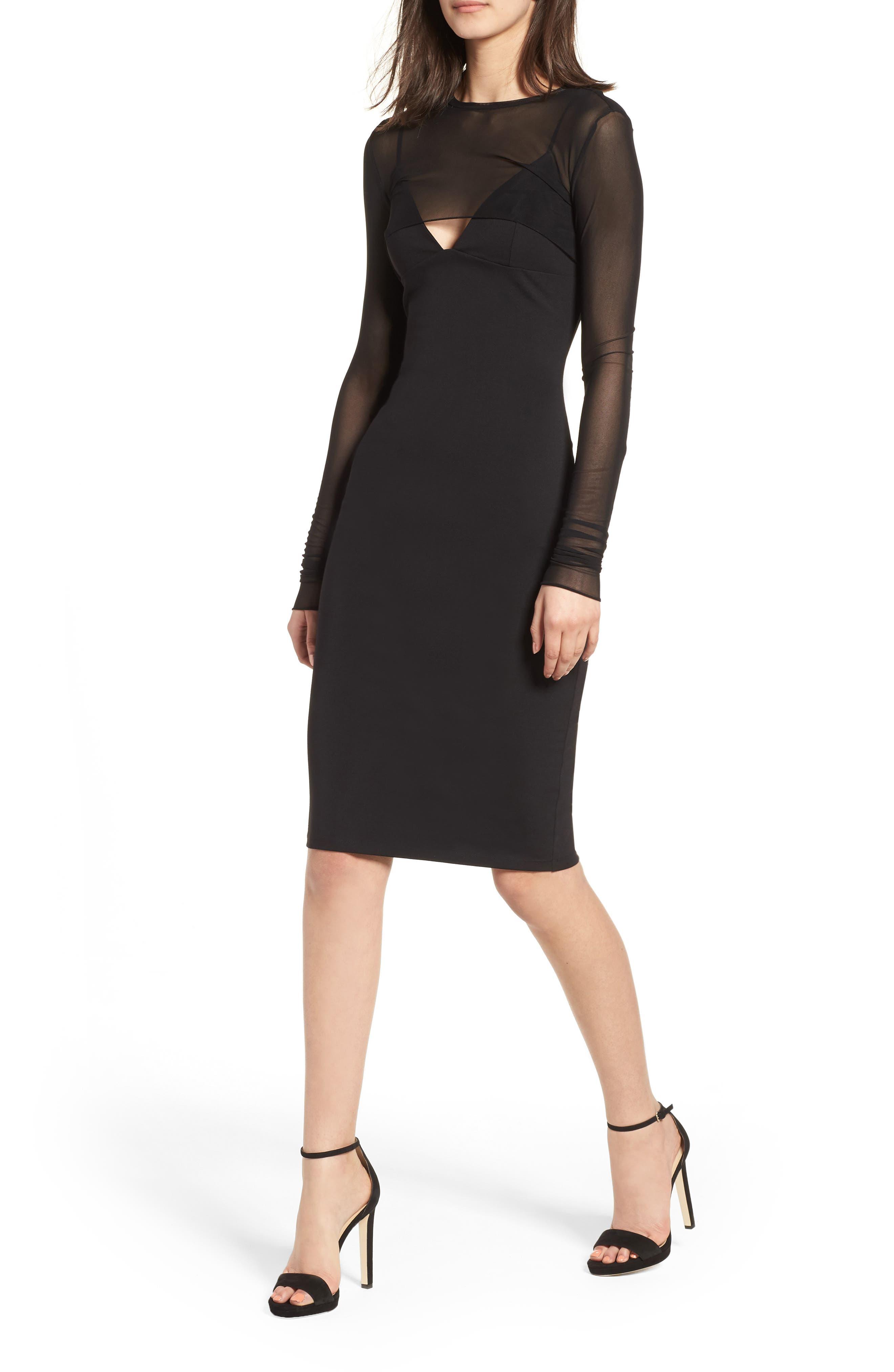 Mesh Overlay Sheath Dress,                             Main thumbnail 1, color,                             001