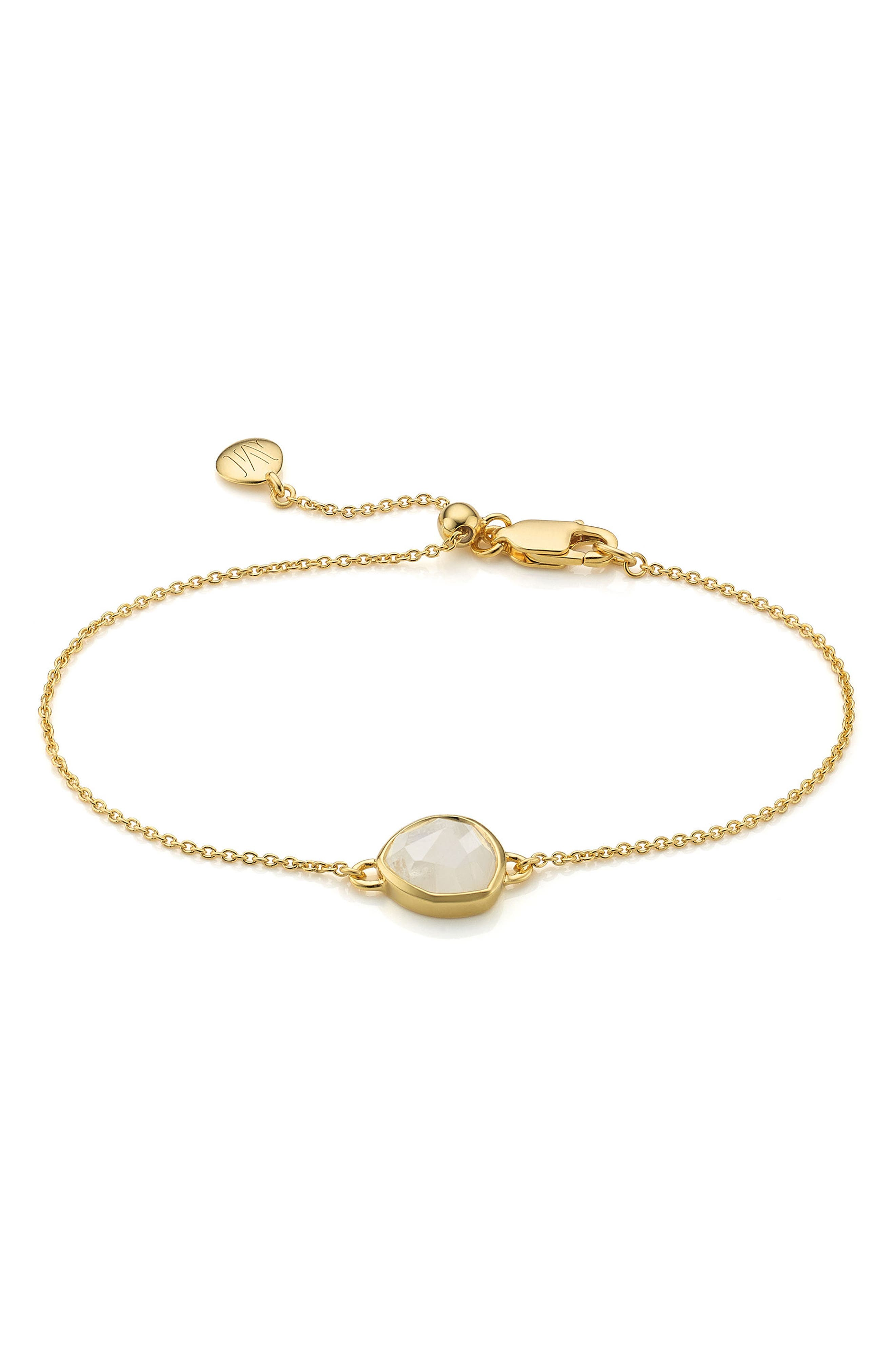 'Mini Siren' Fine Chain Bracelet,                             Main thumbnail 1, color,                             MOONSTONE/ YELLOW GOLD