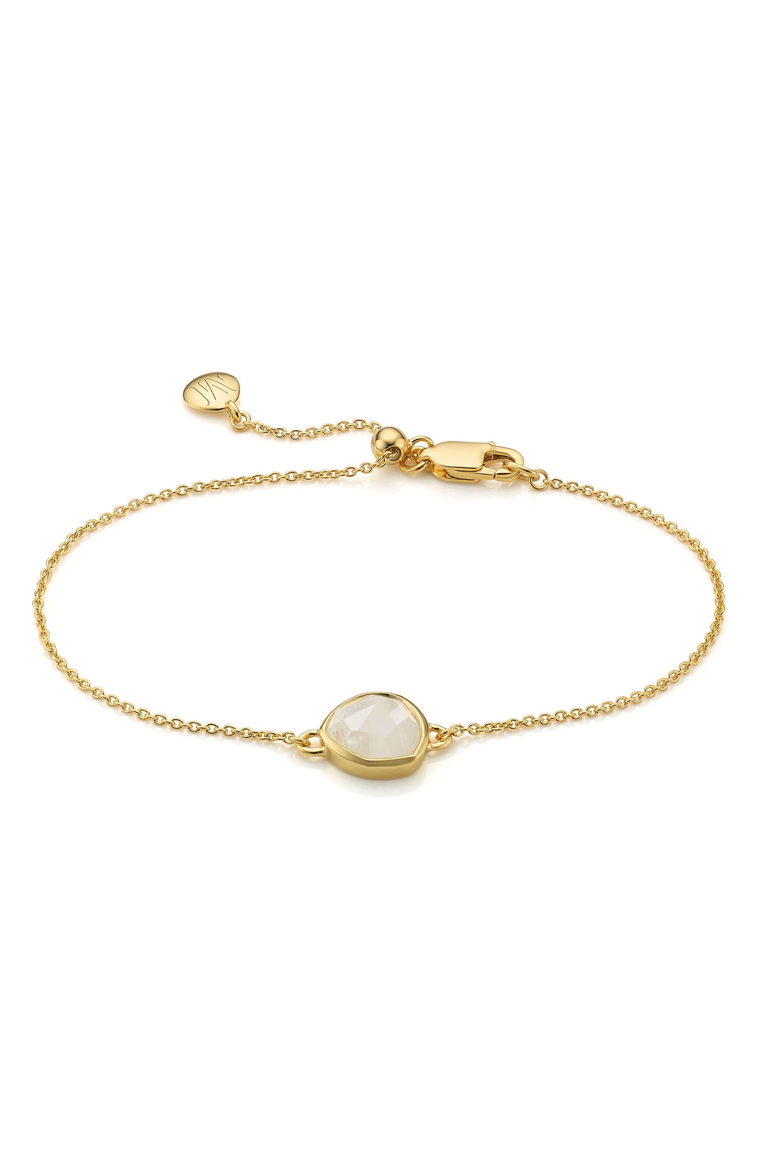 'Mini Siren' Fine Chain Bracelet,                         Main,                         color, MOONSTONE/ YELLOW GOLD