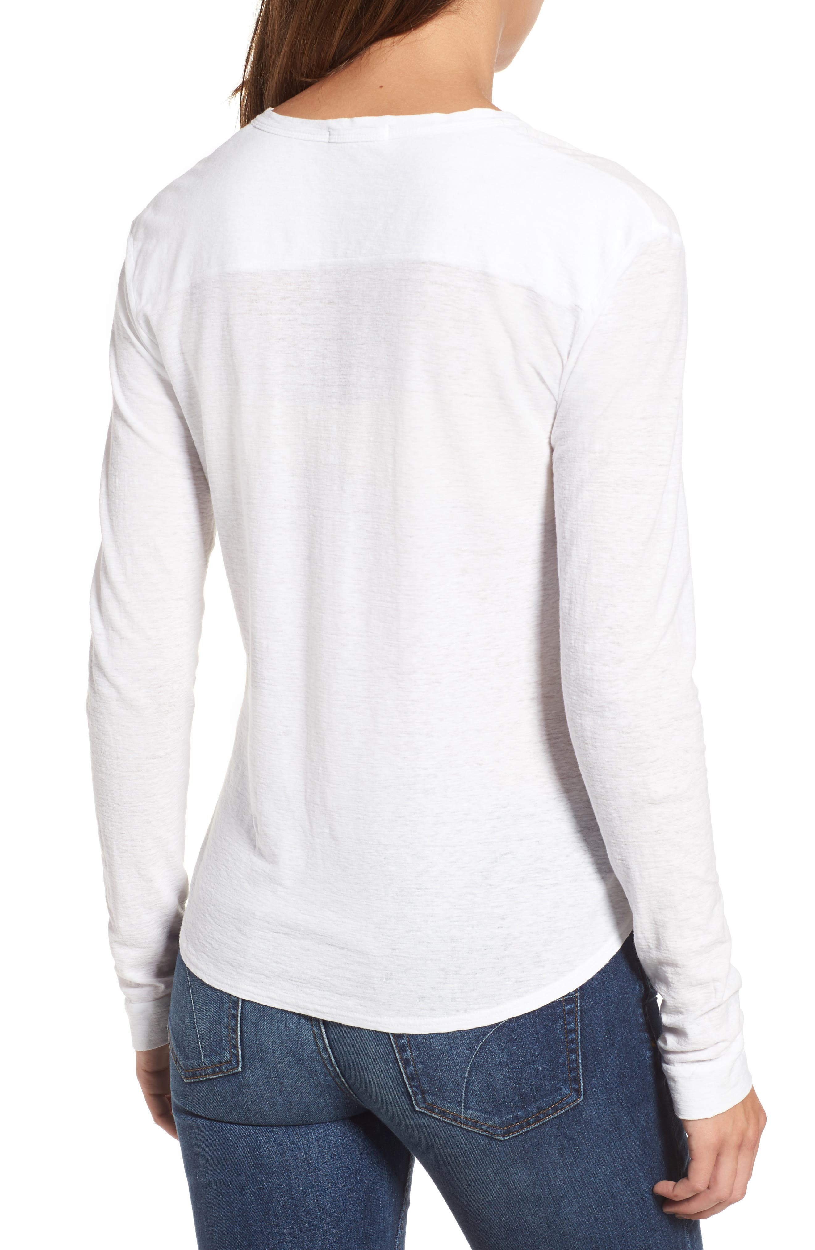 Cotton & Linen Button Front Tee,                             Alternate thumbnail 4, color,
